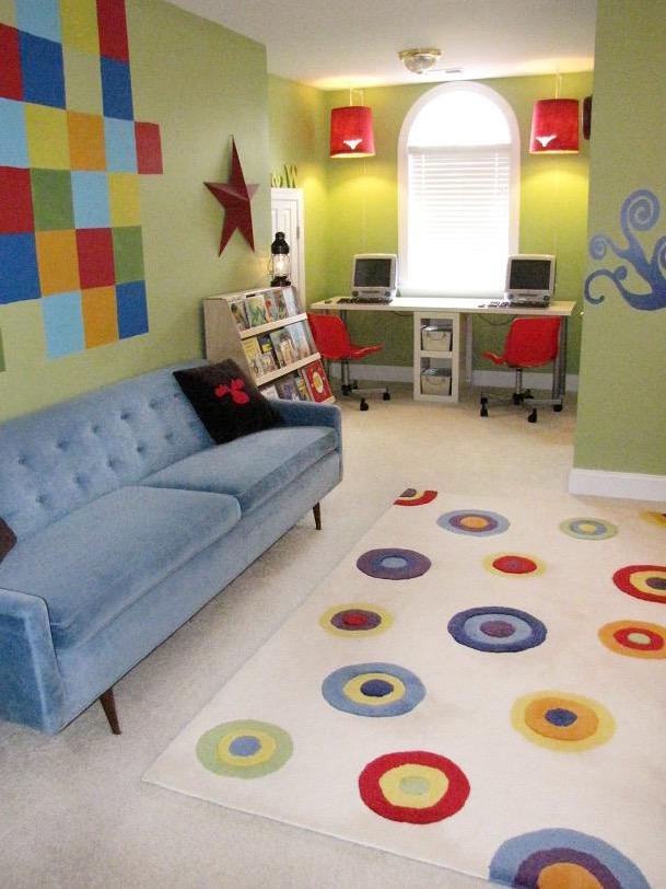 Colorful Boys' Playroom With Blue Sofa And Multicolored Circles Rug (Image 6 of 30)