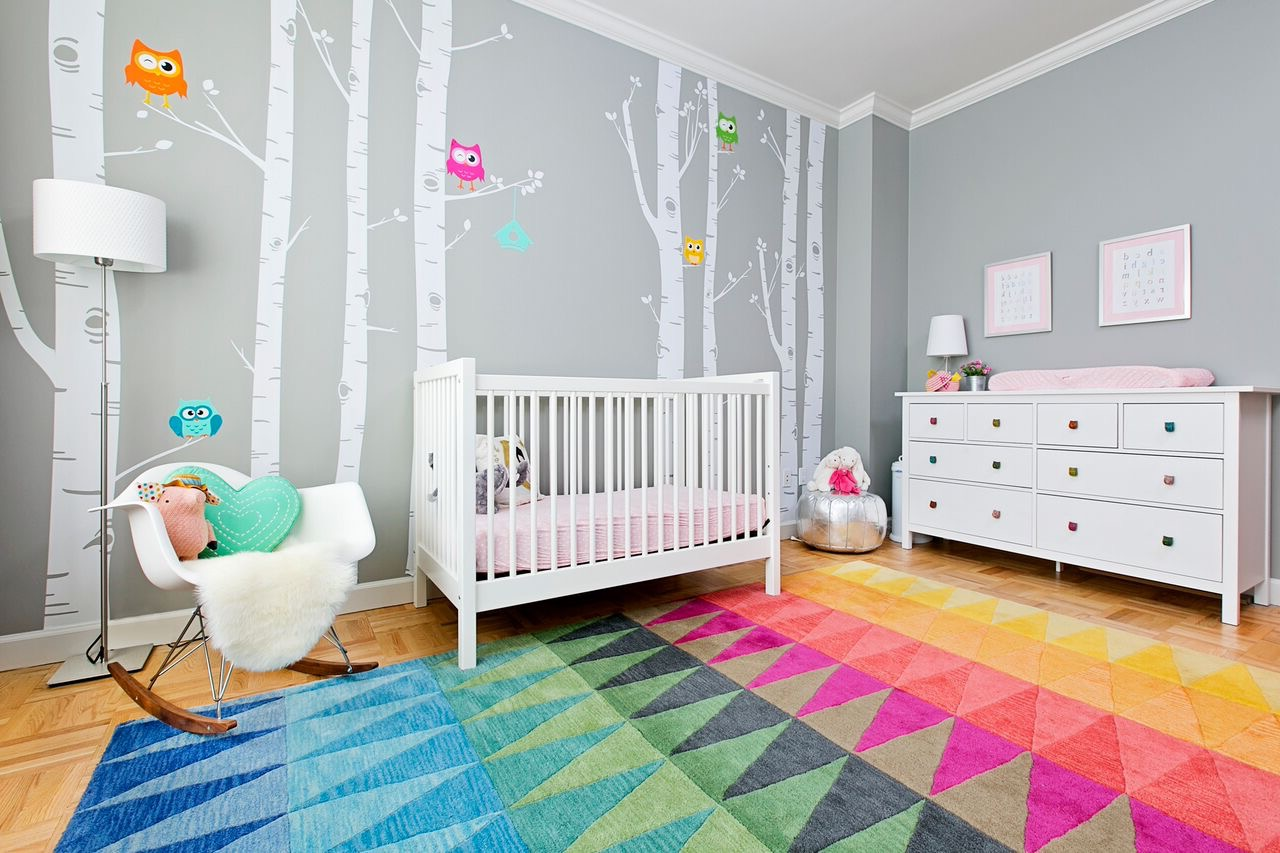 Colorful Nursery Decor With Wall Decals And Modern Furniture (Image 9 of 33)