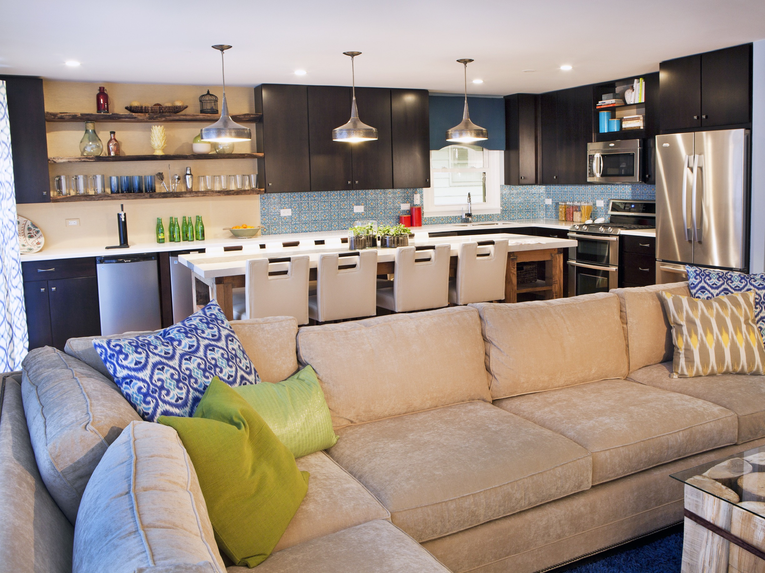 Contemporary Kitchen With Living Room Combo (Image 6 of 31)
