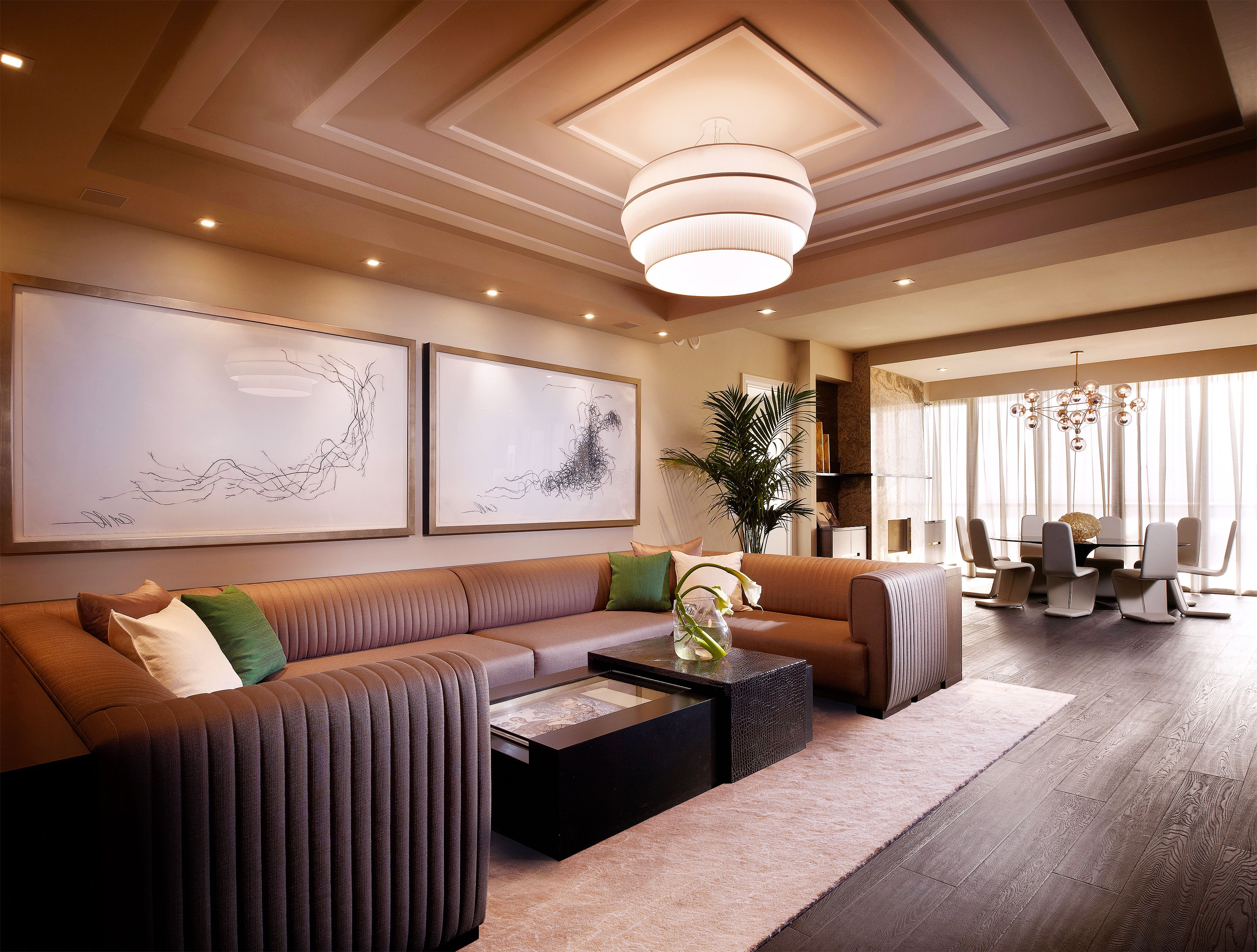 Contemporary Luxury Living Room With Unique Geometric Molding Ceiling (Image 2 of 32)