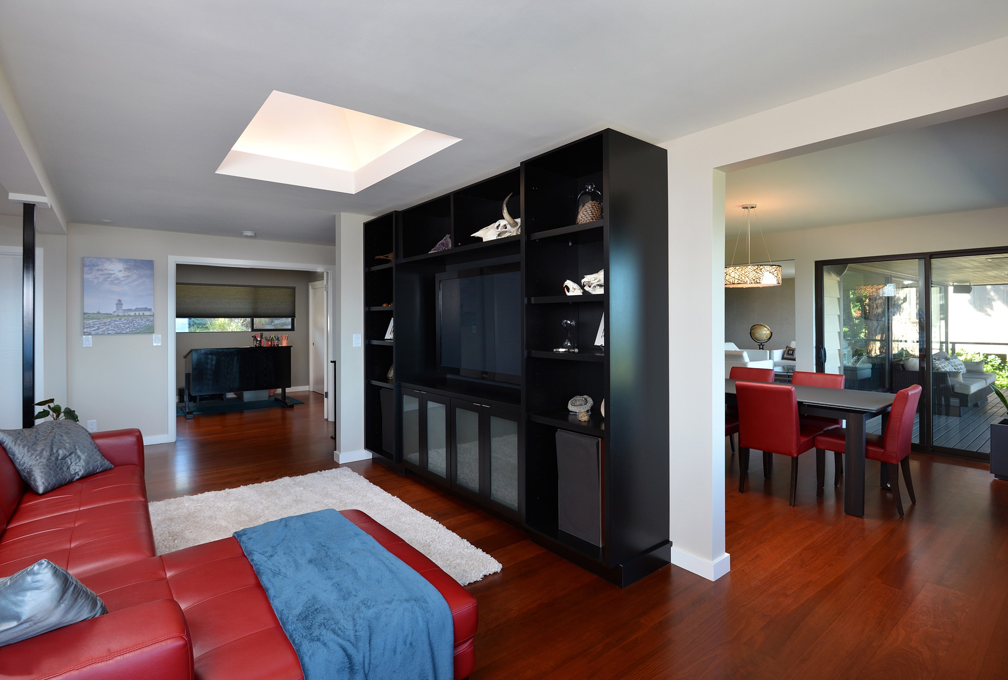 Contemporary Media Room With Stylish Entertainment Center (Image 3 of 15)