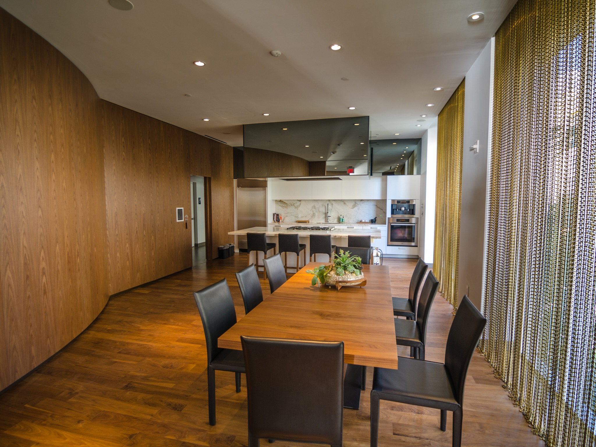 Contemporary Open Concept Dining Room And Kitchen Combo With Curved Wood Wall (View 7 of 20)
