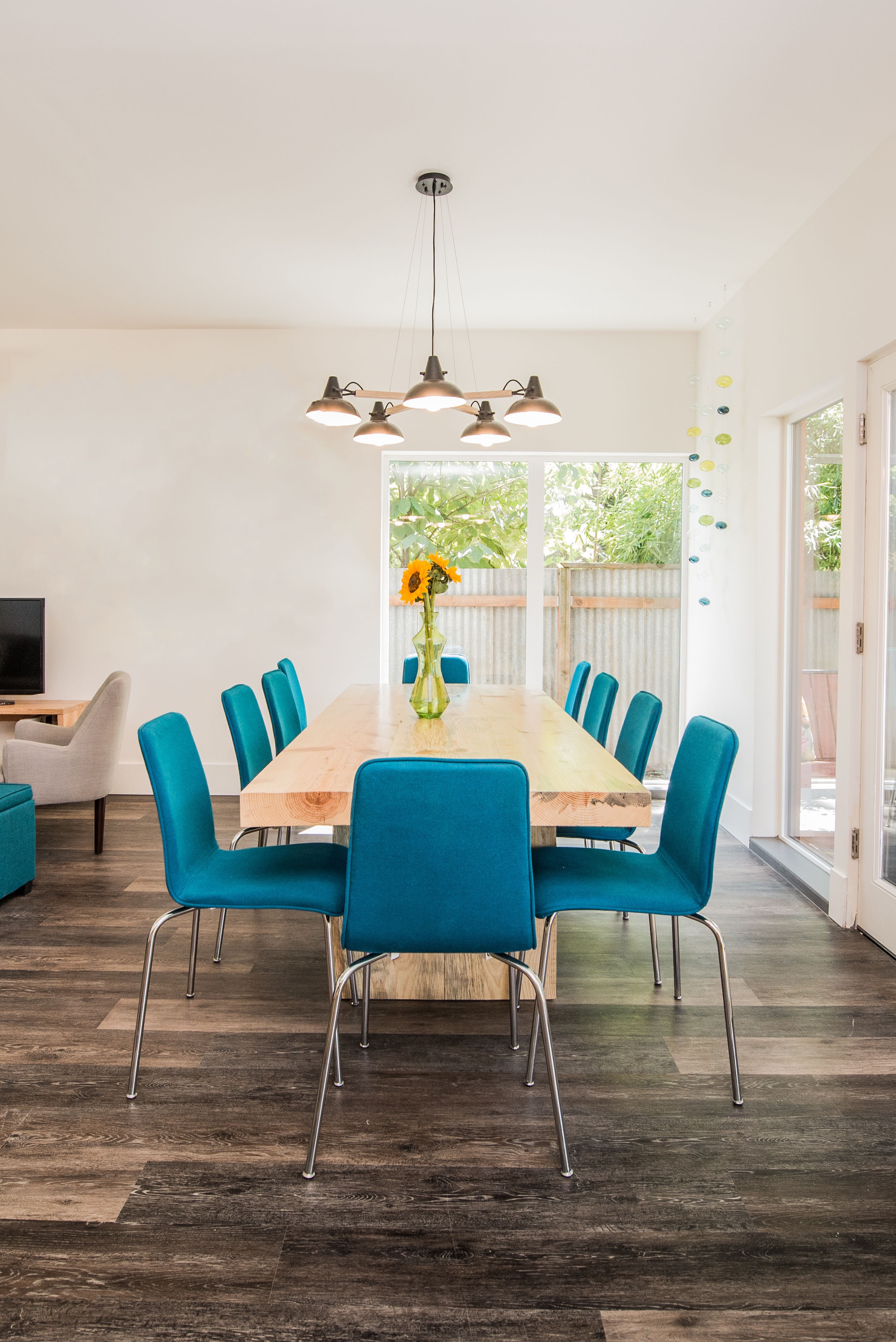 Contemporary Turquoise Dining Chairs With Hardwood Table With Flower Vase Accessories (Image 12 of 25)
