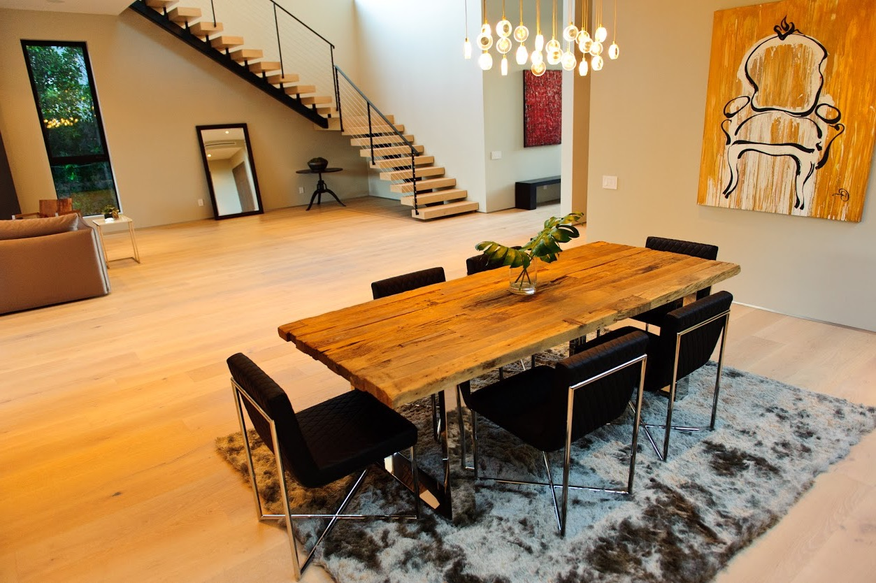 Contemporary Black Dining Room Chairs With Wooden Table (Image 8 of 25)