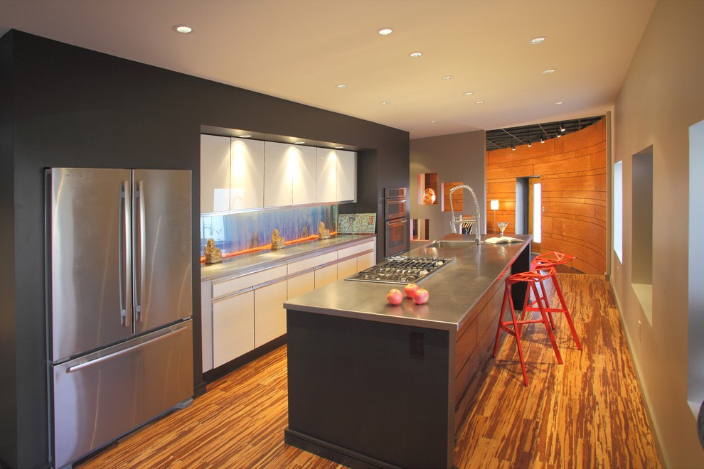 Contemporary Galley Kitchen With Classic Bamboo Flooring (Image 7 of 20)