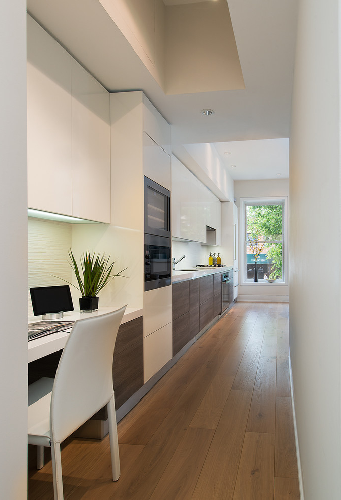 Contemporary Single Wall Kitchen With Built In Desk For Workspace Office (Image 4 of 15)