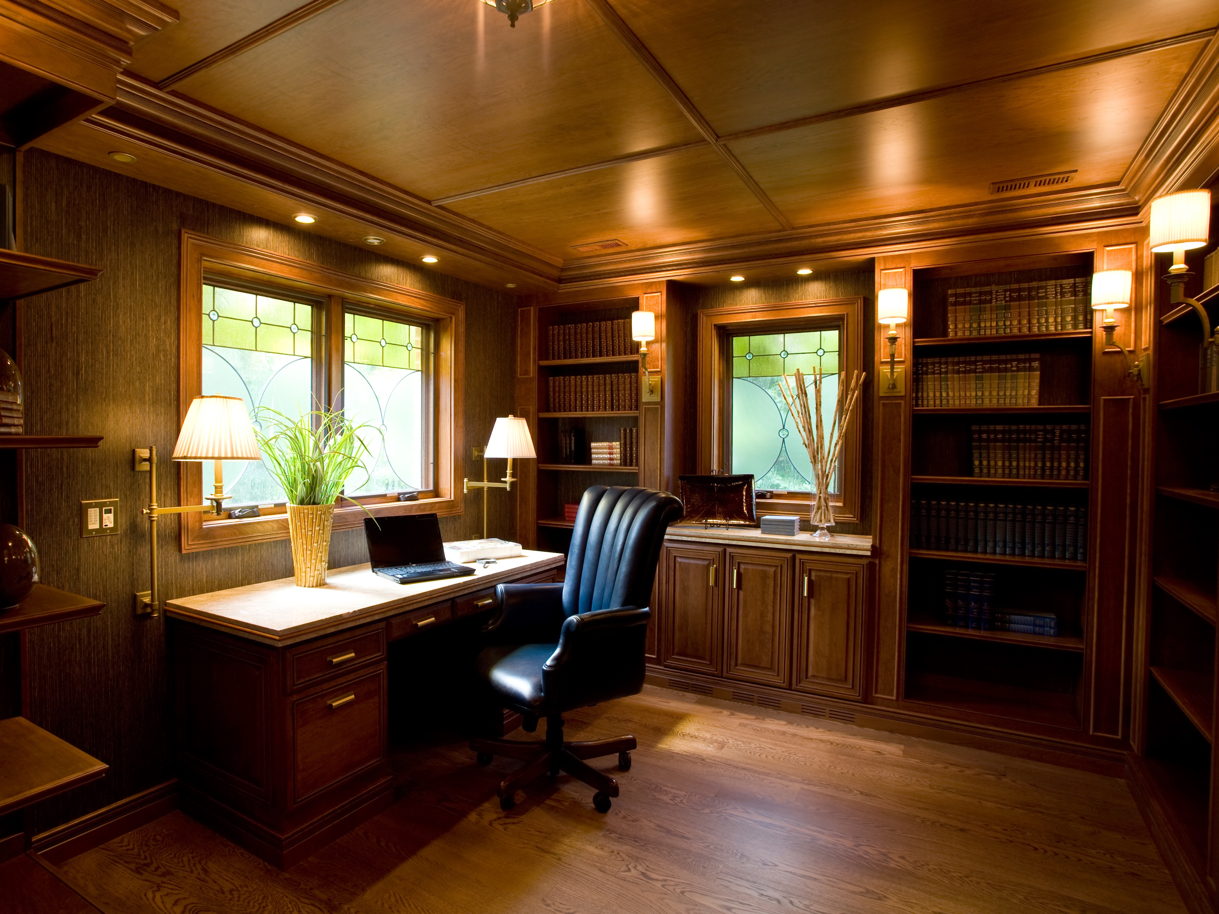 Craftsman Style Home Office With Wood Ceiling And Built Ins (Image 19 of 50)