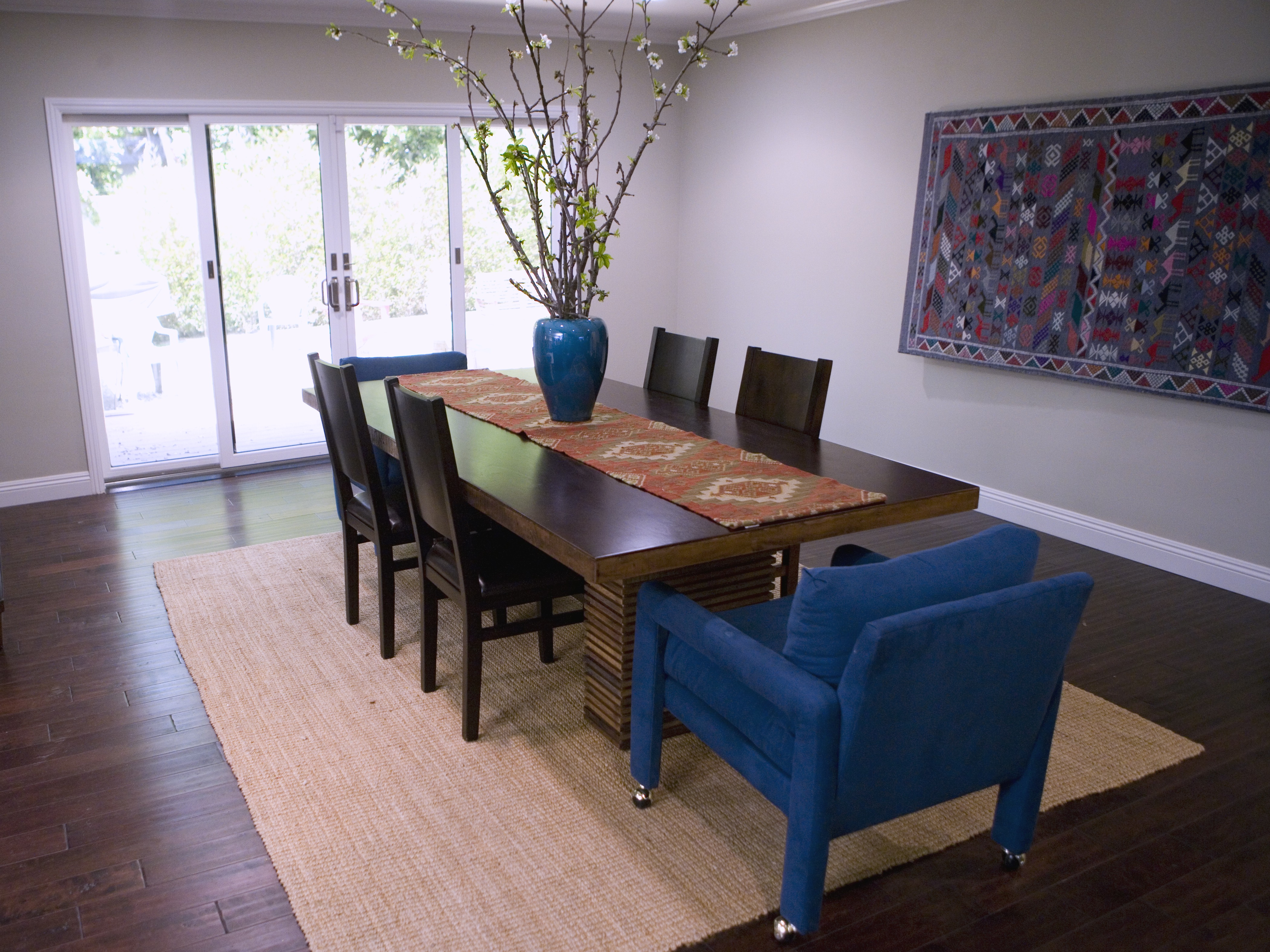 Eclectic Dining Room With Blue Upholstered Arm Chairs (Image 16 of 25)