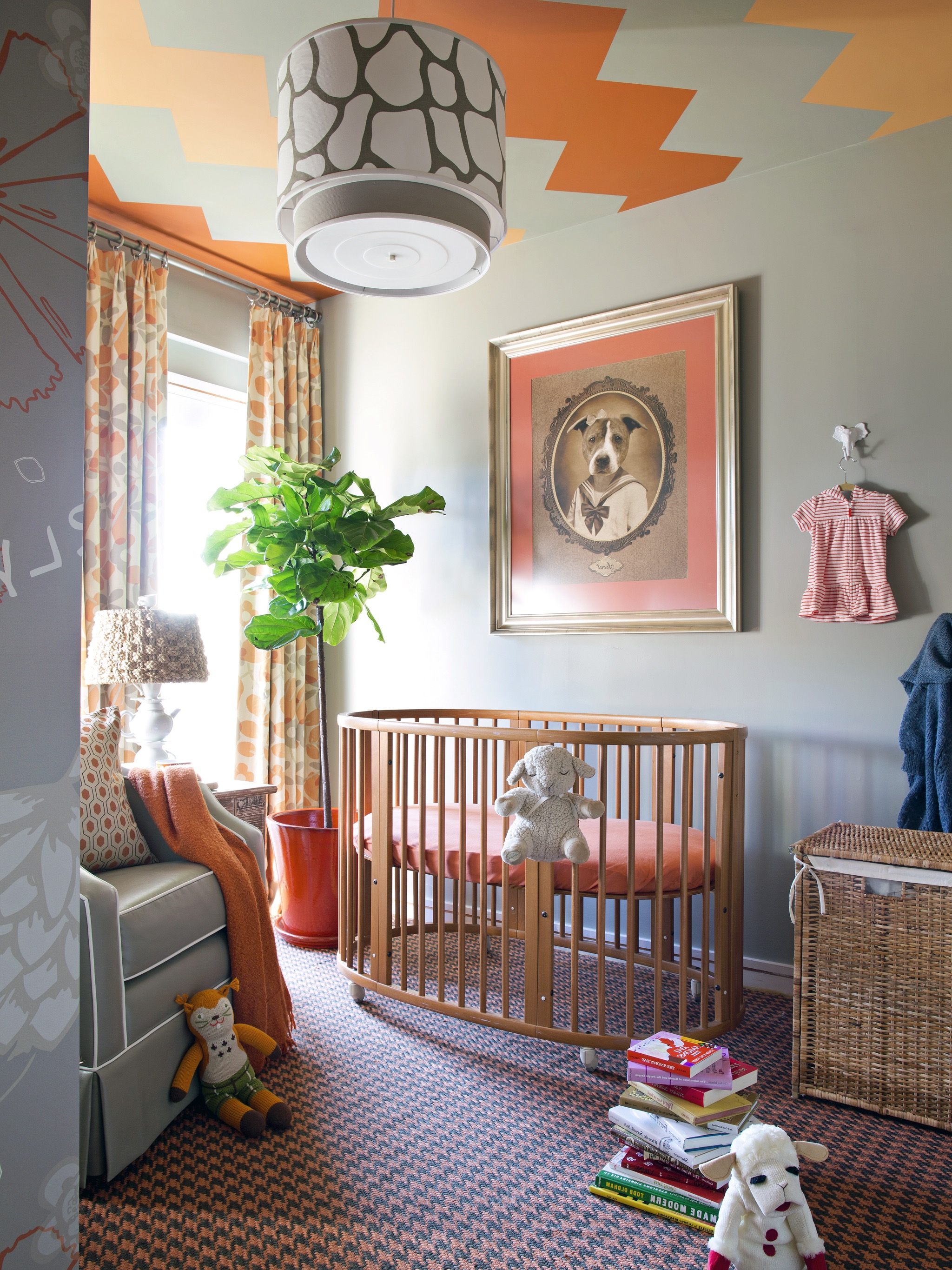 Eclectic Taupe Nursery With Orange Accents And Painted Ceiling (Image 12 of 33)