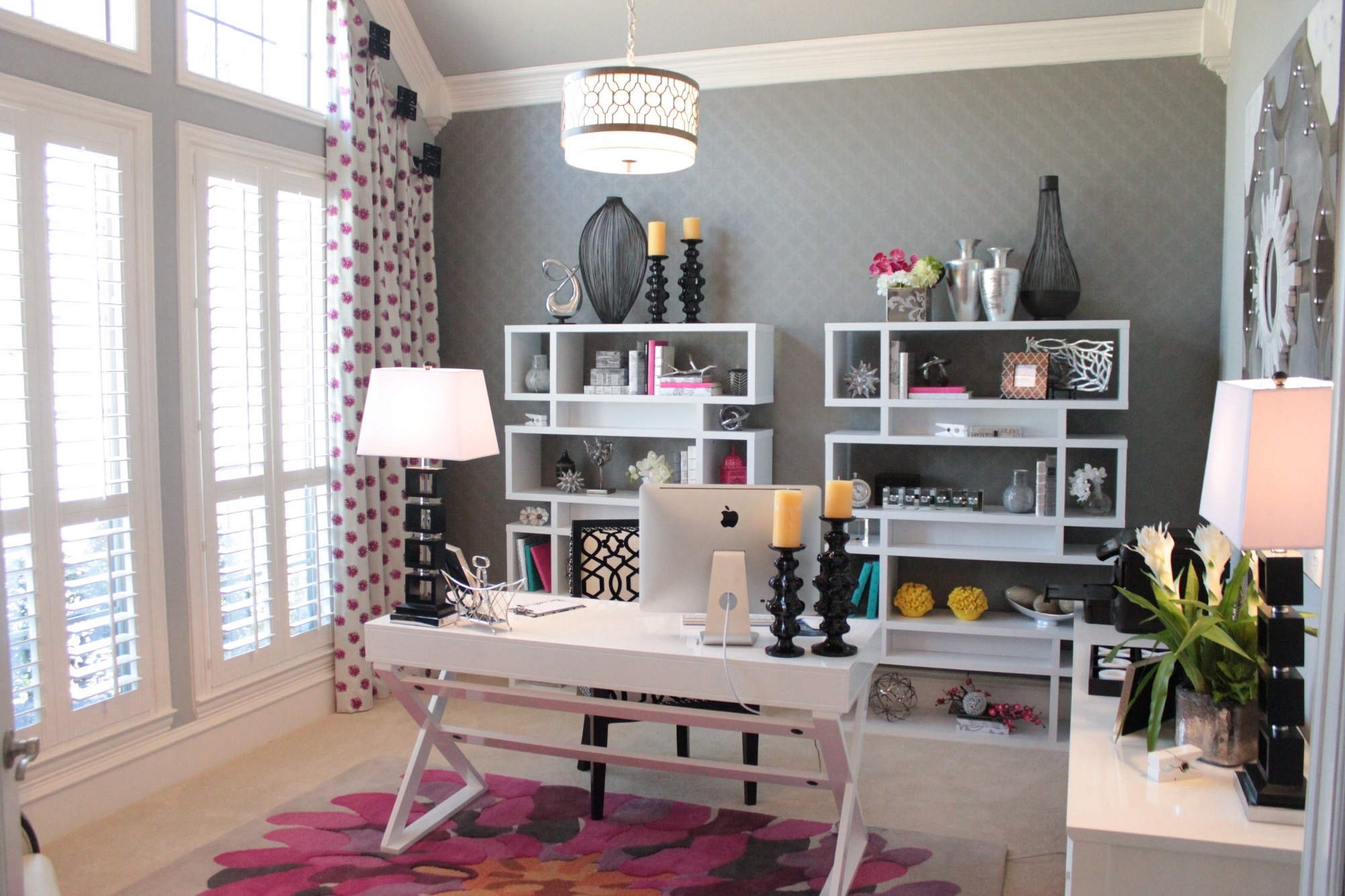 Fabulously Feminine Home Office With Pops Of Pink (View 18 of 50)