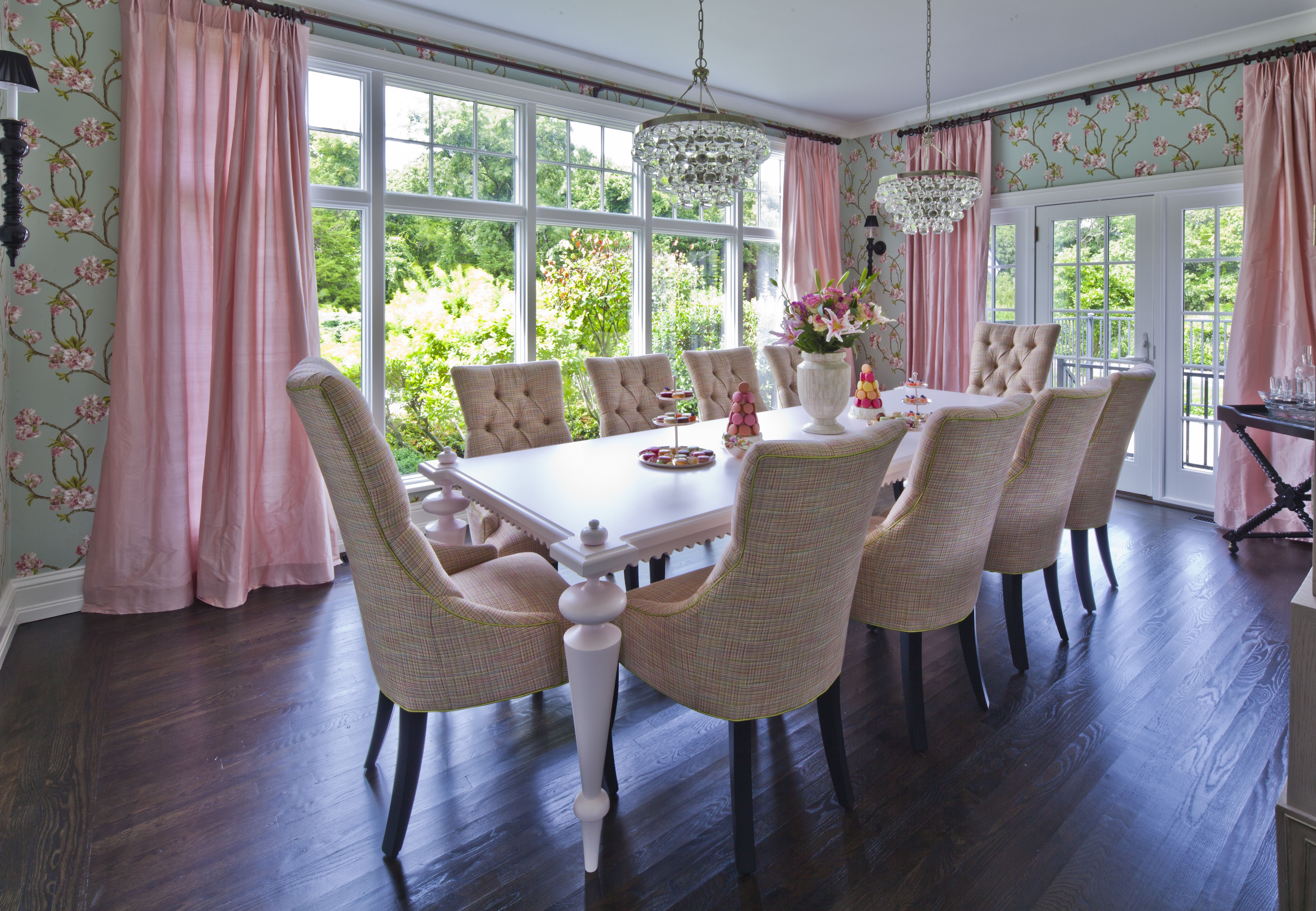 Feminine Dining Room With Soft Pink & Pastel Green (Image 17 of 25)