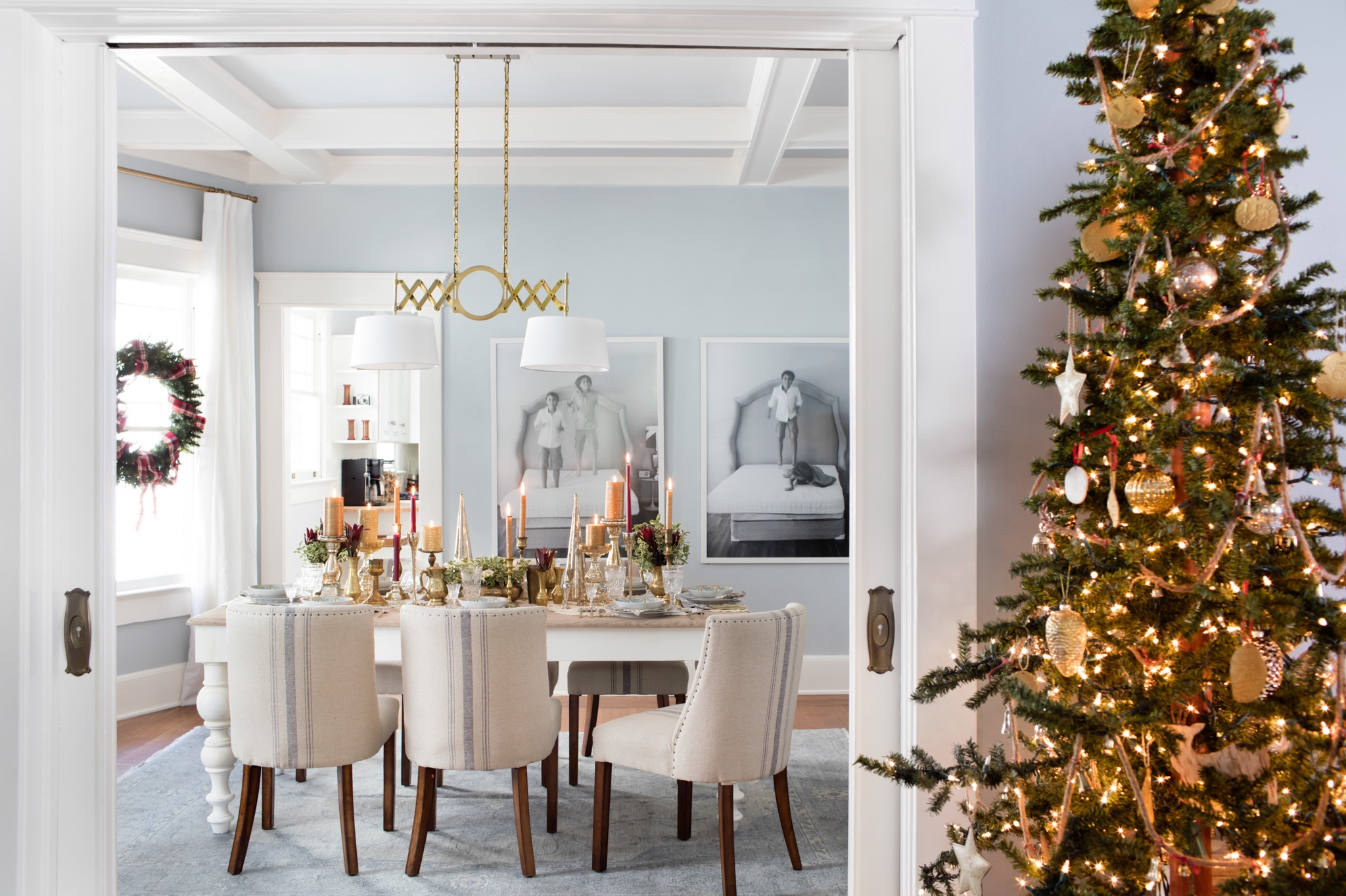 Festive Dining Room With Christmas Tree And Industrial Style Chandelier (Photo 16 of 32)