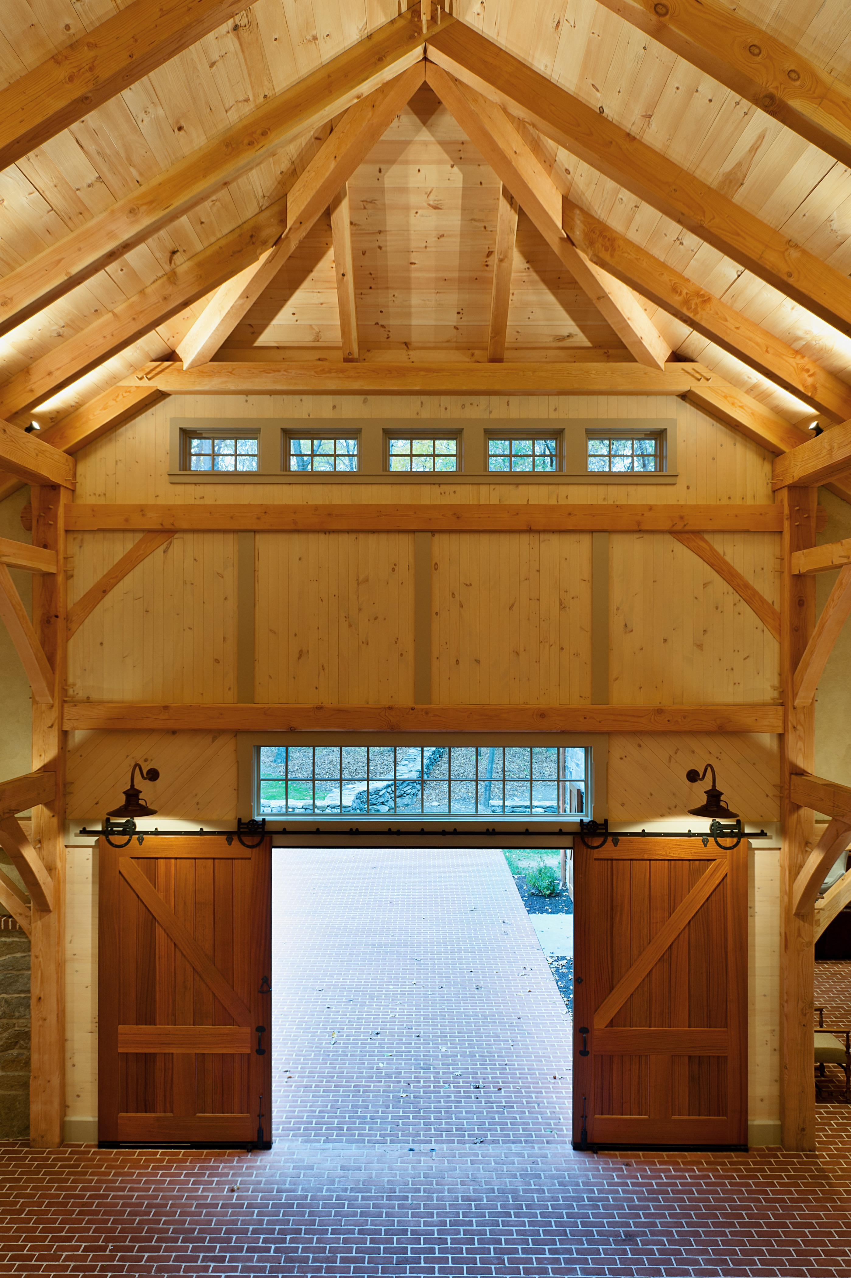 Garage Interior Features Rustic Sliding Barn Doors (Image 16 of 38)