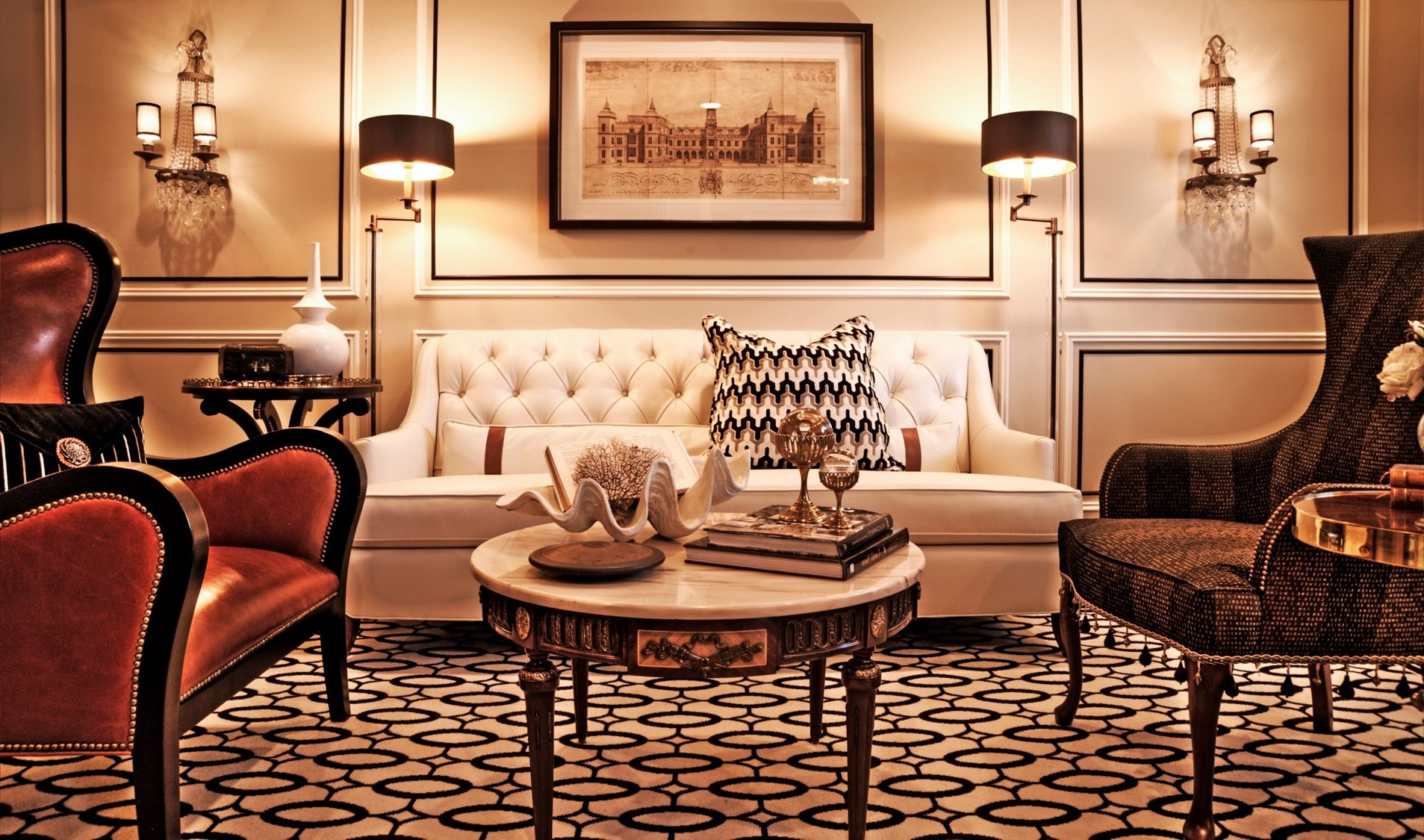 Glamorous Art Deco Living Room With Tufted White Sofa (Image 12 Of 20)