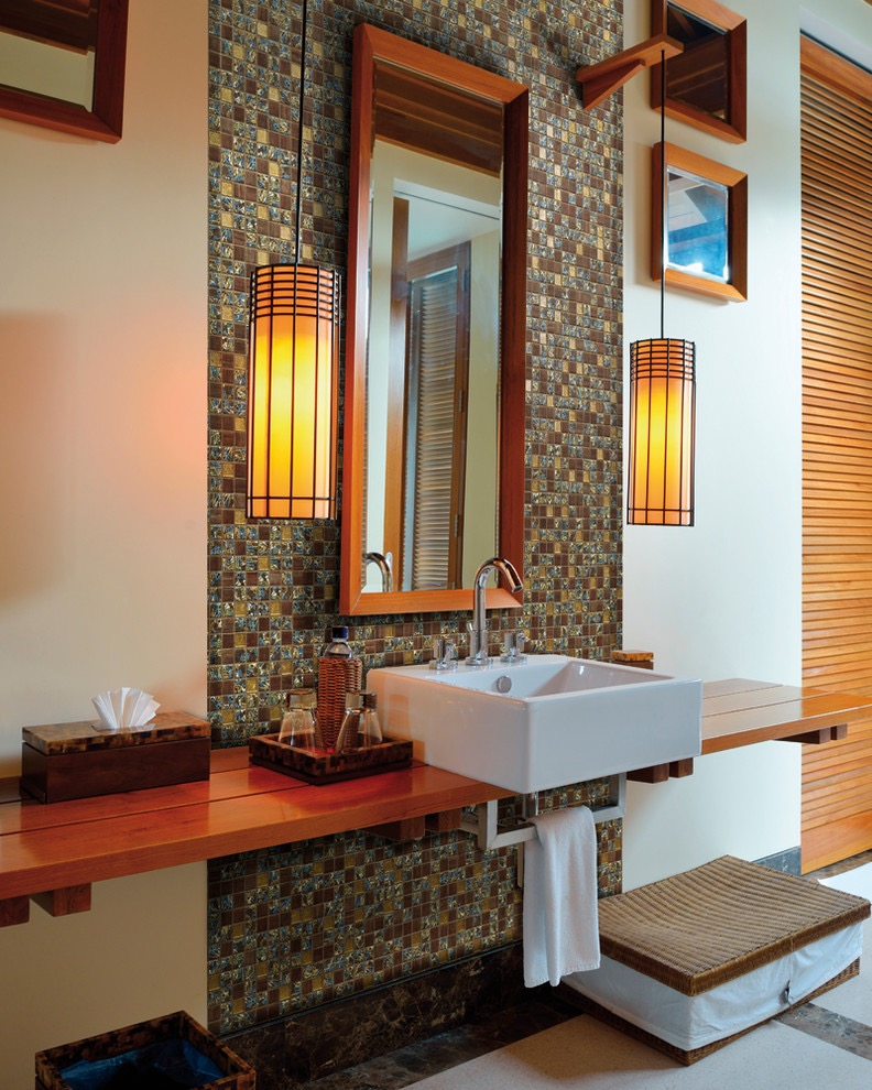 Glass Mosaic And Ethnic Pendant Lighting For Modern Bathroom (View 3 of 15)