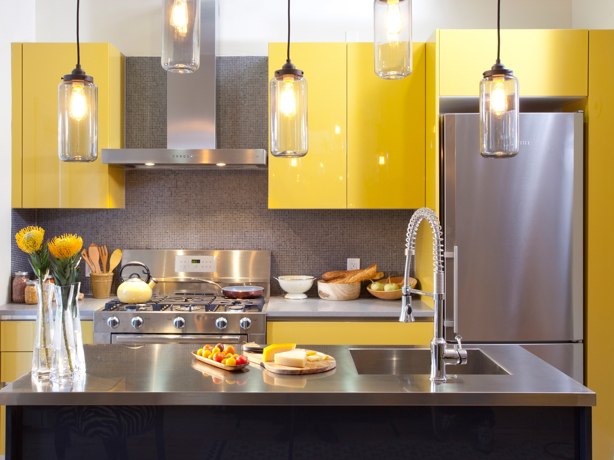 Glossy Yellow Kitchen Cabinets (View 6 of 18)