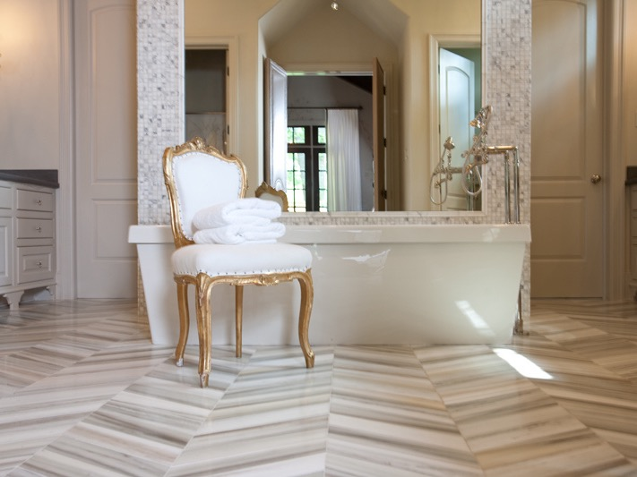 Gray Herringbone Marble Flooring (Image 9 of 25)