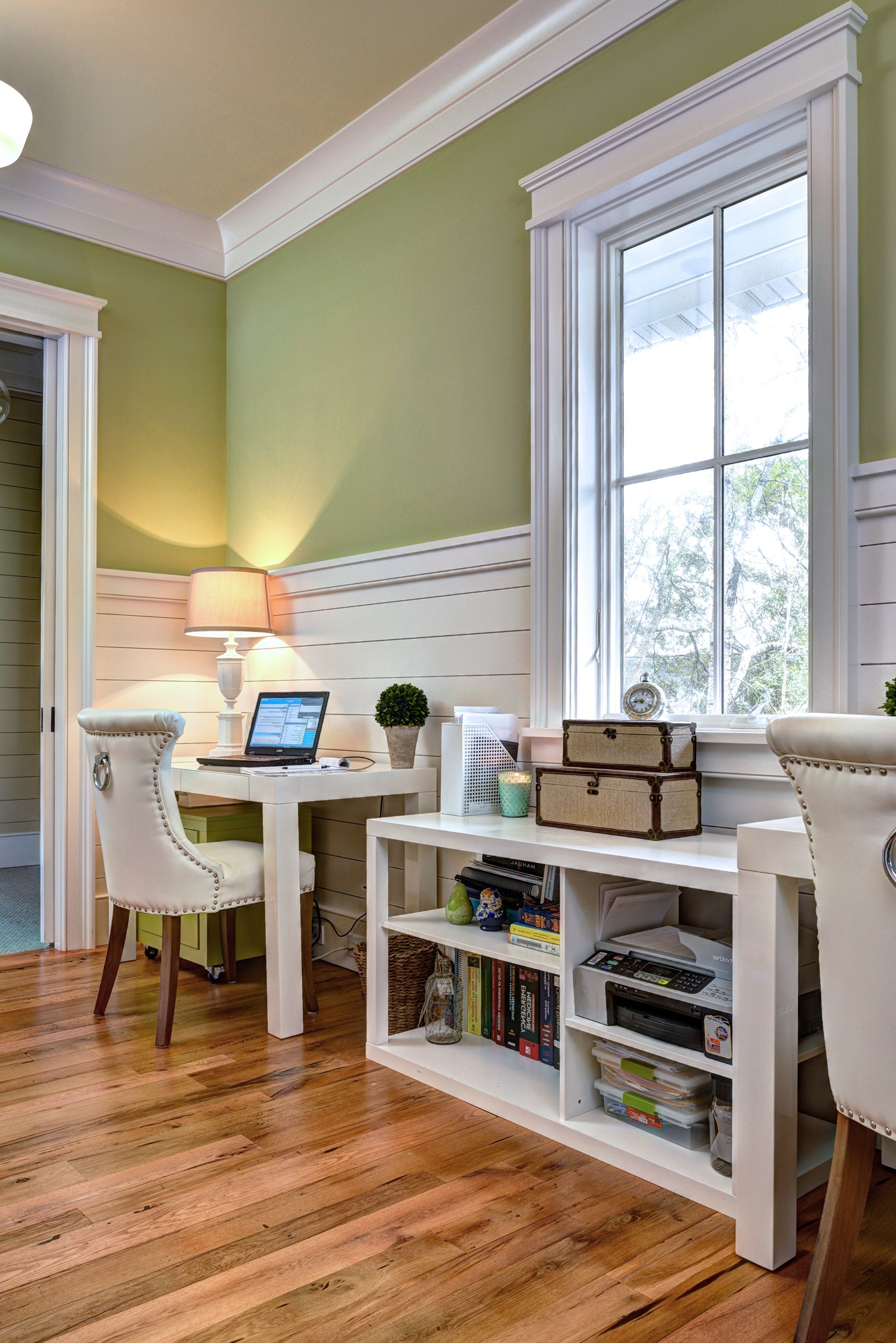 Home Office With Green Walls And Costal Style Wainscoting (View 21 of 50)
