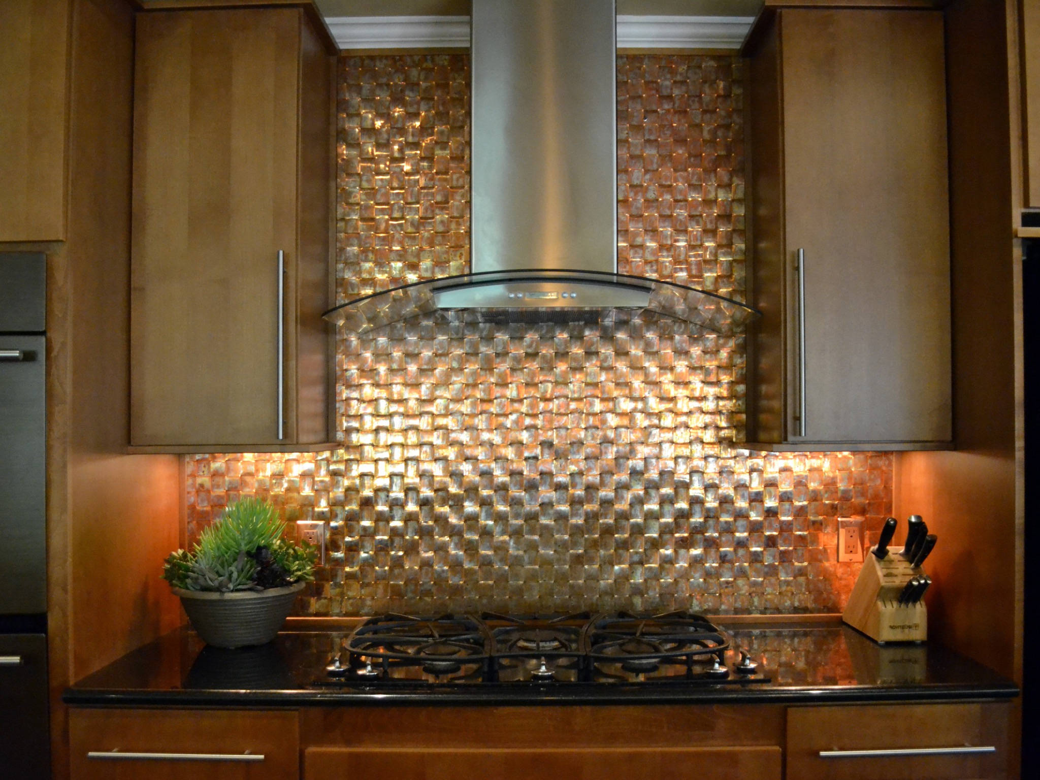 Kitchen With Basket Weave Copper Backsplash (Image 19 of 32)