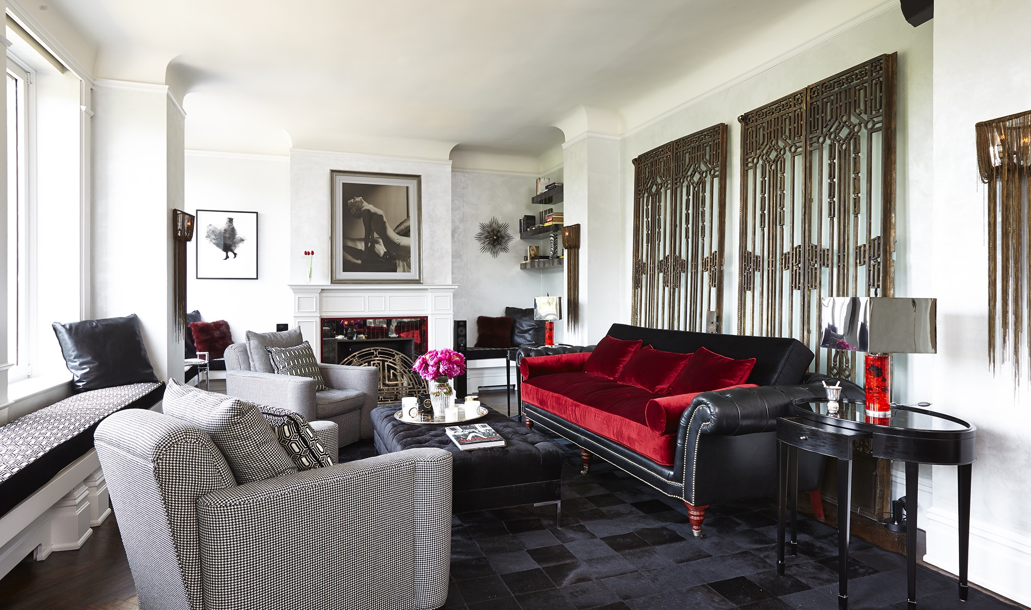 Leather And Velvet Sofa In Art Deco Living Room (Image 14 of 20)
