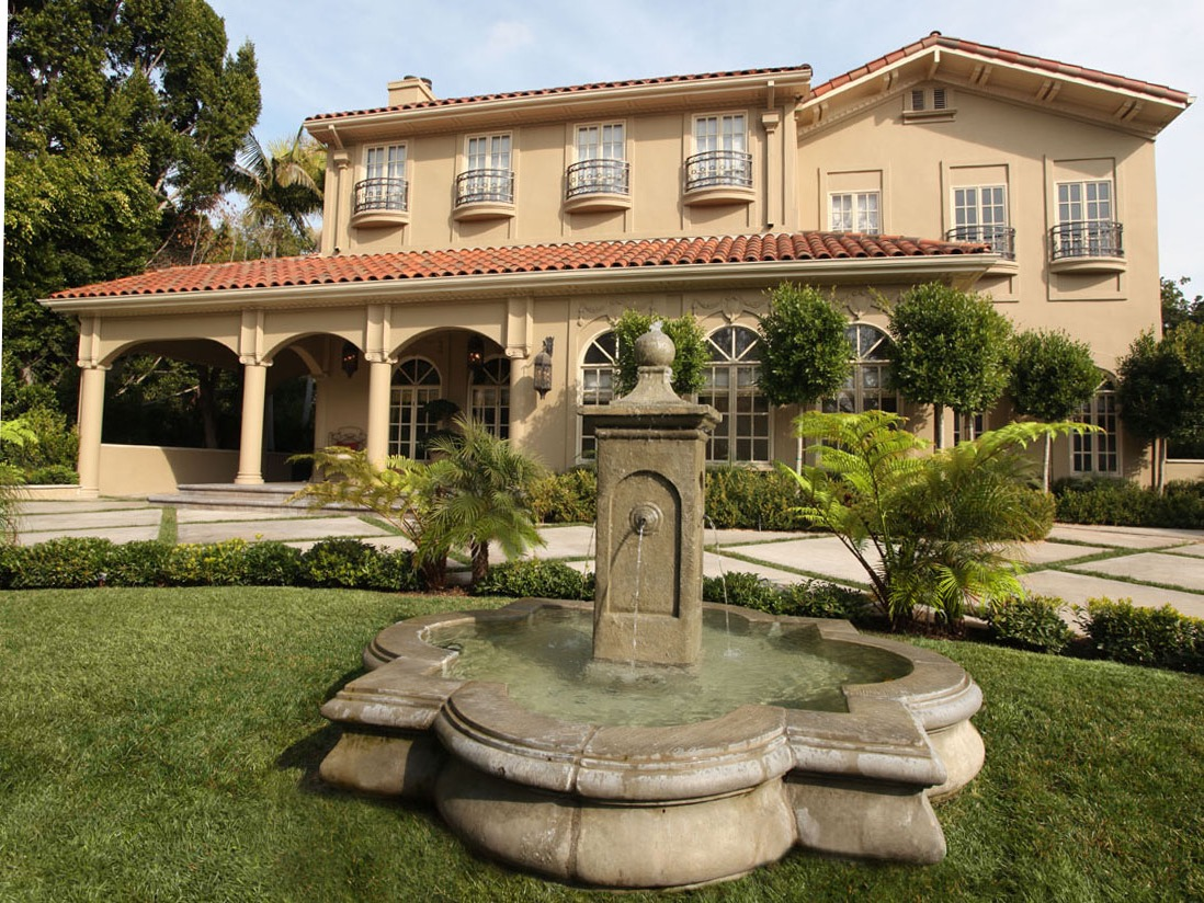 Mediterranean Exterior With Quatrefoil Shaped Fountain (Image 19 of 30)