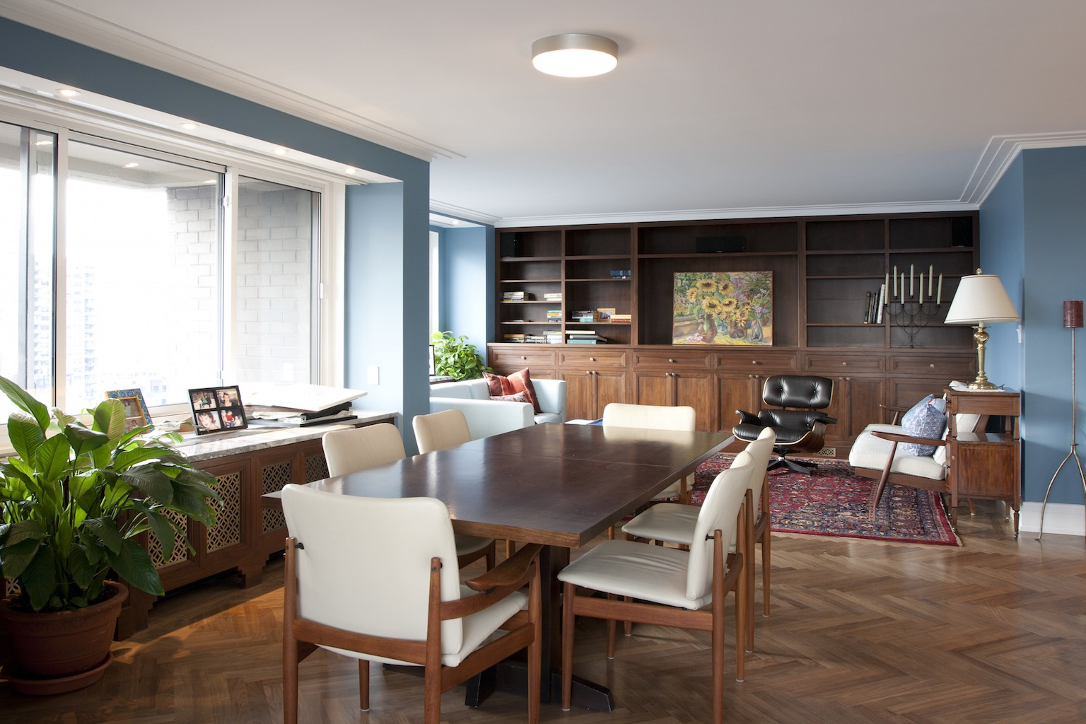 Midcentury Modern Apartment Interior Open Plan Dining And Living Area (View 11 of 30)