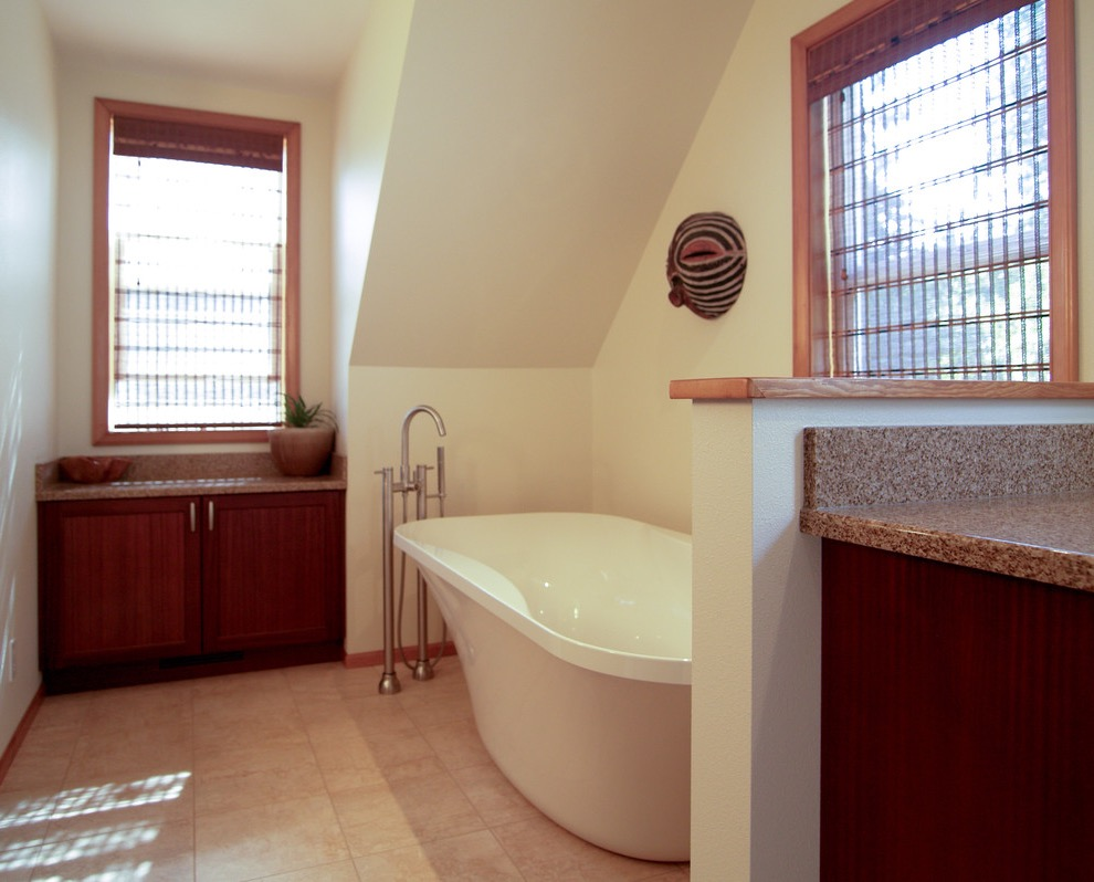 Modern Attic Bathroom Remodel With An Ethnic Pop (View 12 of 15)