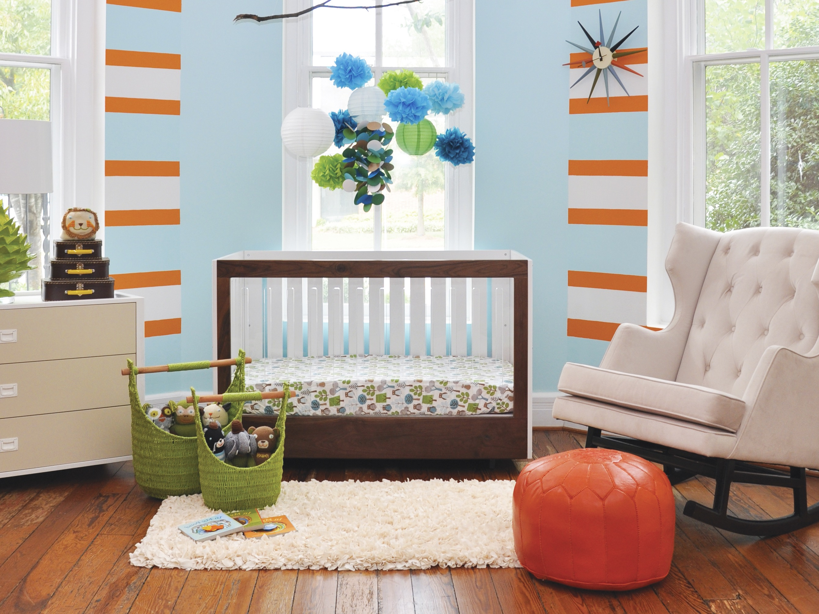 Modern Blue Boys Nursery Baby Room (Image 23 of 33)