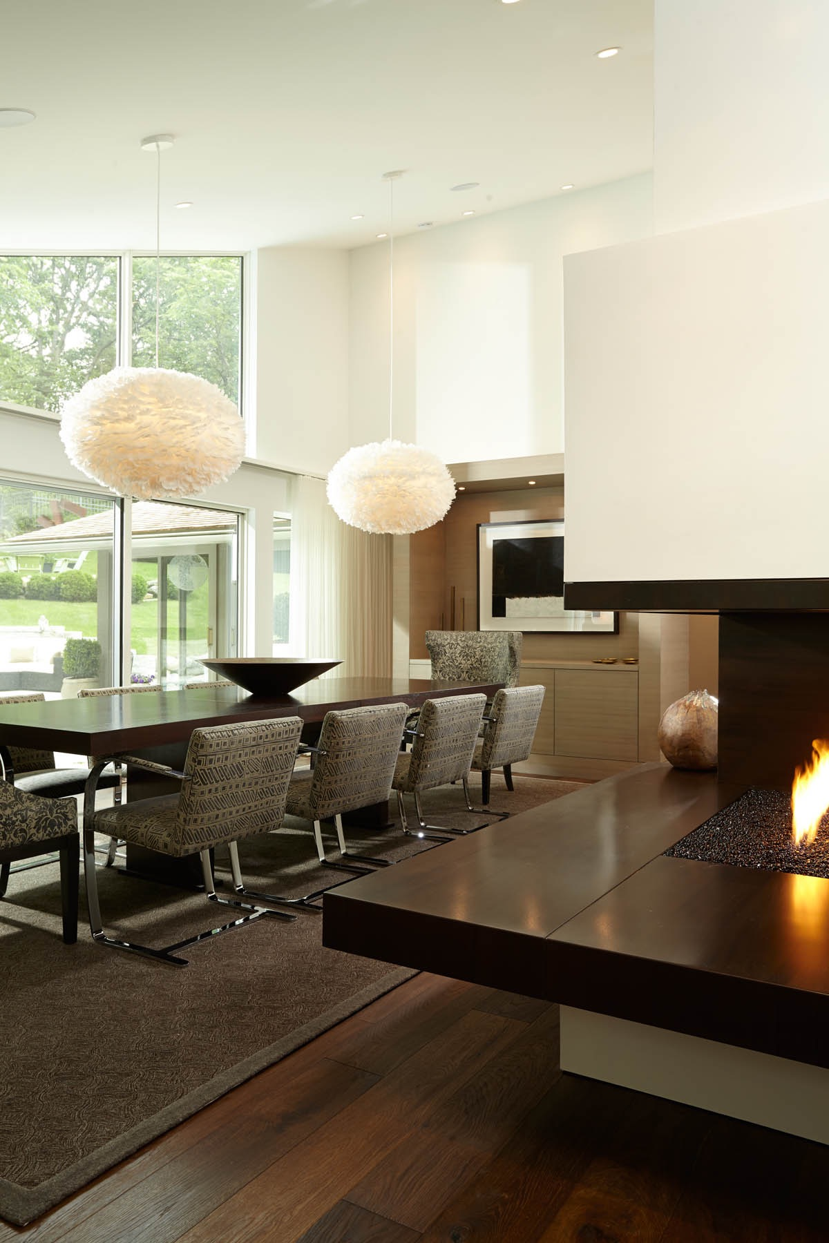 Modern Dining Room With Contemporary Fireplace (Image 16 of 30)