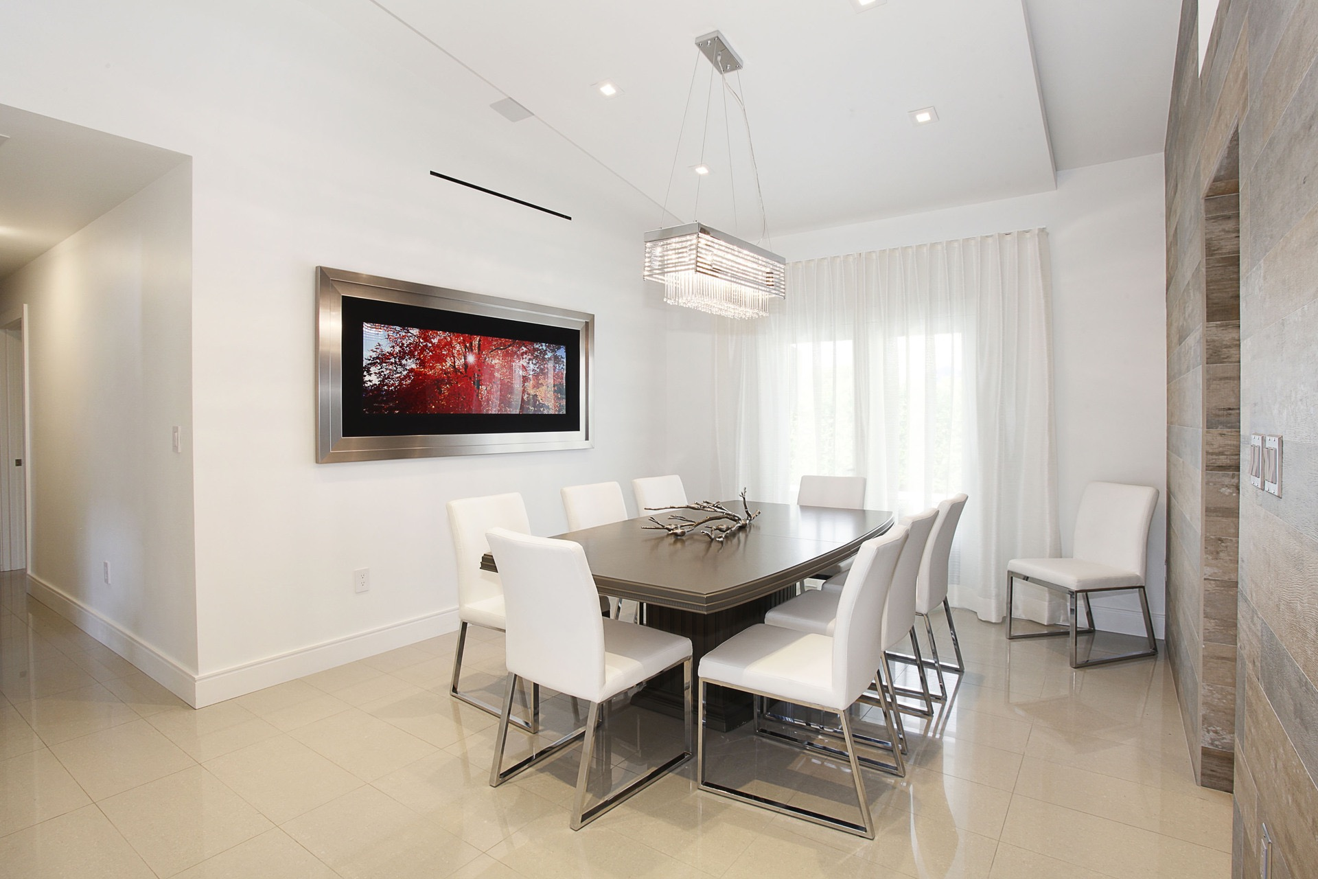 Modern Dining Room With Custom Table And White Leather Chairs (Image 17 of 30)
