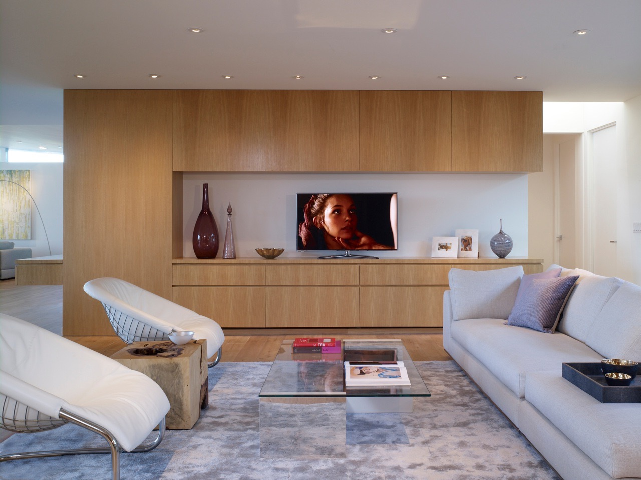 Modern Family Room With Oak Wood Built In TV Cabinets (Image 21 of 31)