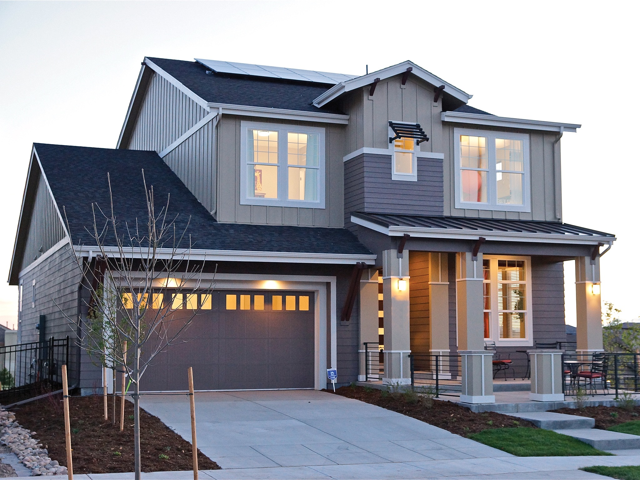 Modern Garage Door With Wood Accents For American House Exterior (Image 23 of 38)