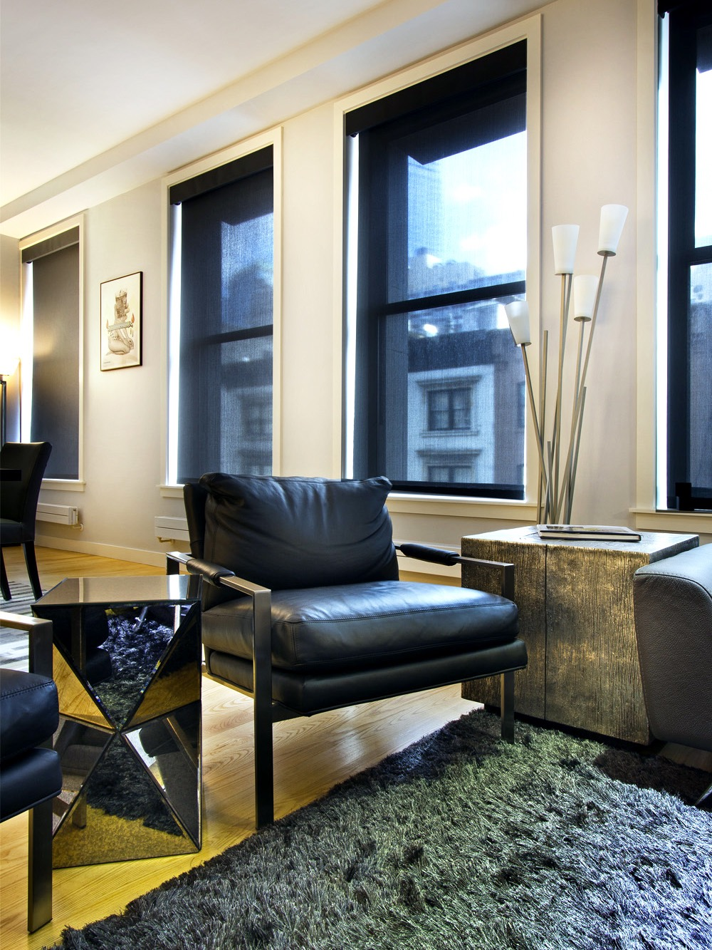 Modern Living Room With Black Leather Furniture (View 36 of 42)