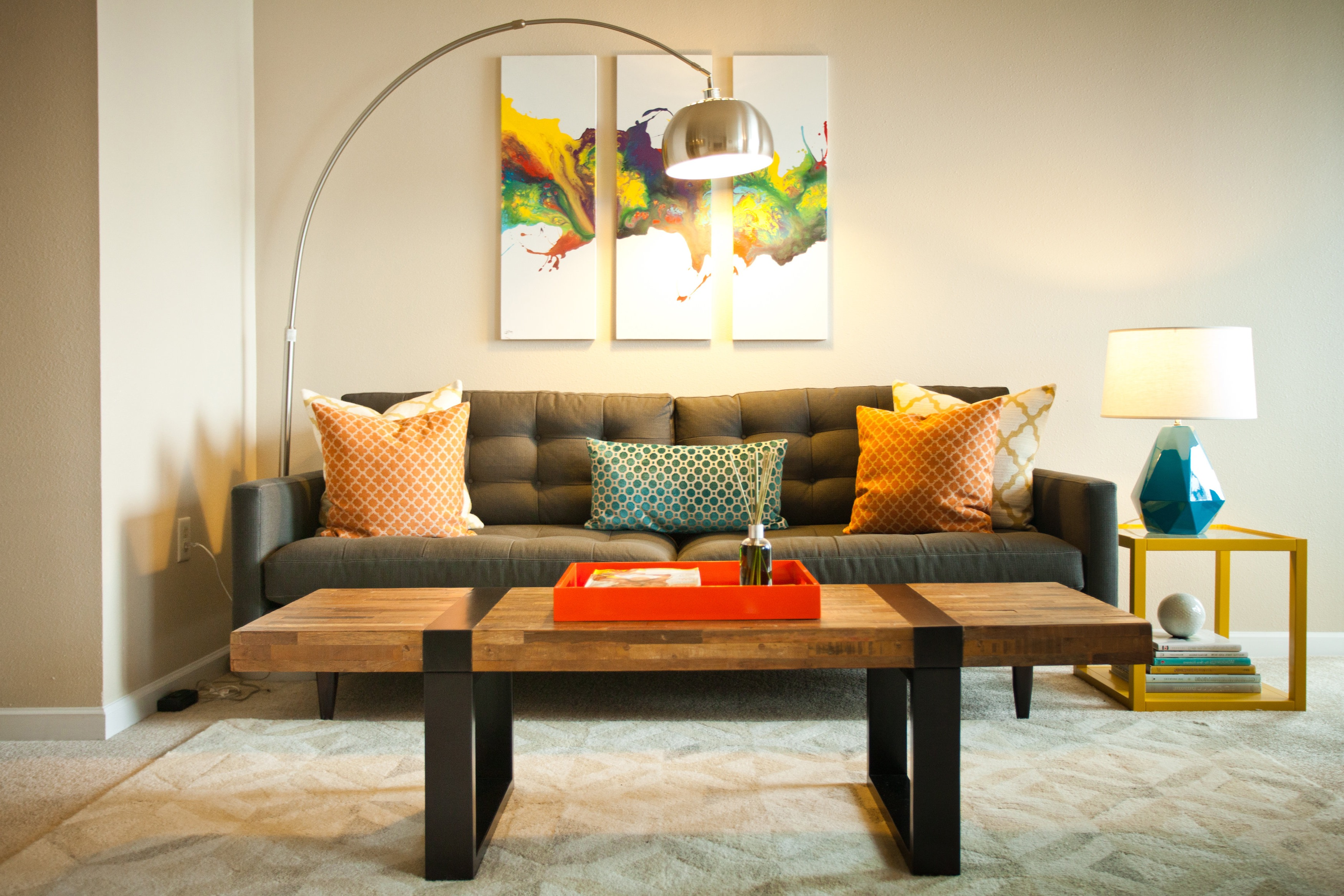 Modern Living Space With Orange Color Accents (Image 12 of 20)