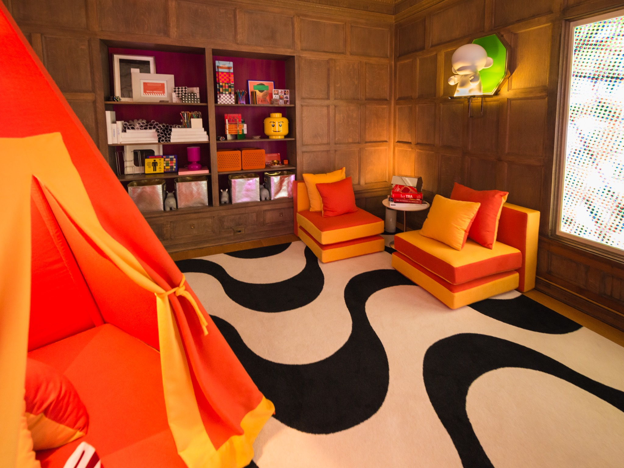 Modern Playroom With Wood Paneling And Bright Orange Furniture (Image 22 of 30)