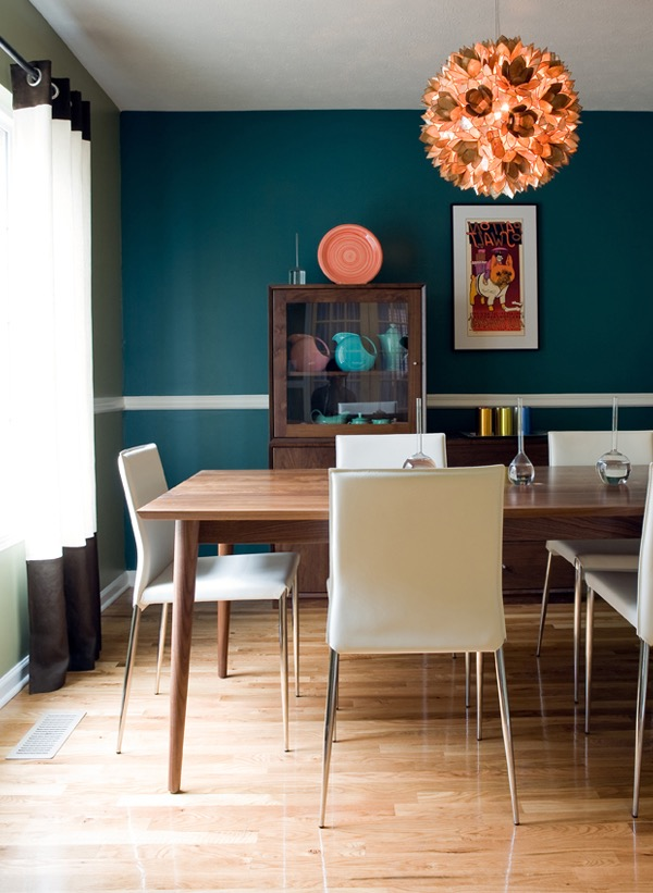 Modern Teal Dining Room With Contemporary Chandelier (Image 24 of 30)