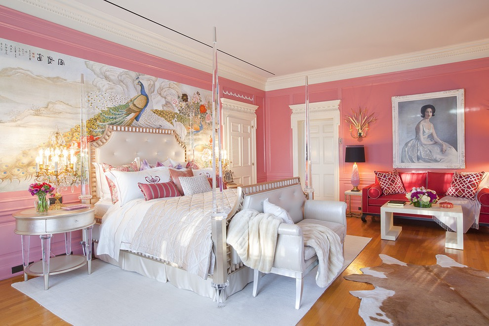Modern Victorian Bedroom With Pink Theme And Decorative Wallpaper (View 19 of 30)