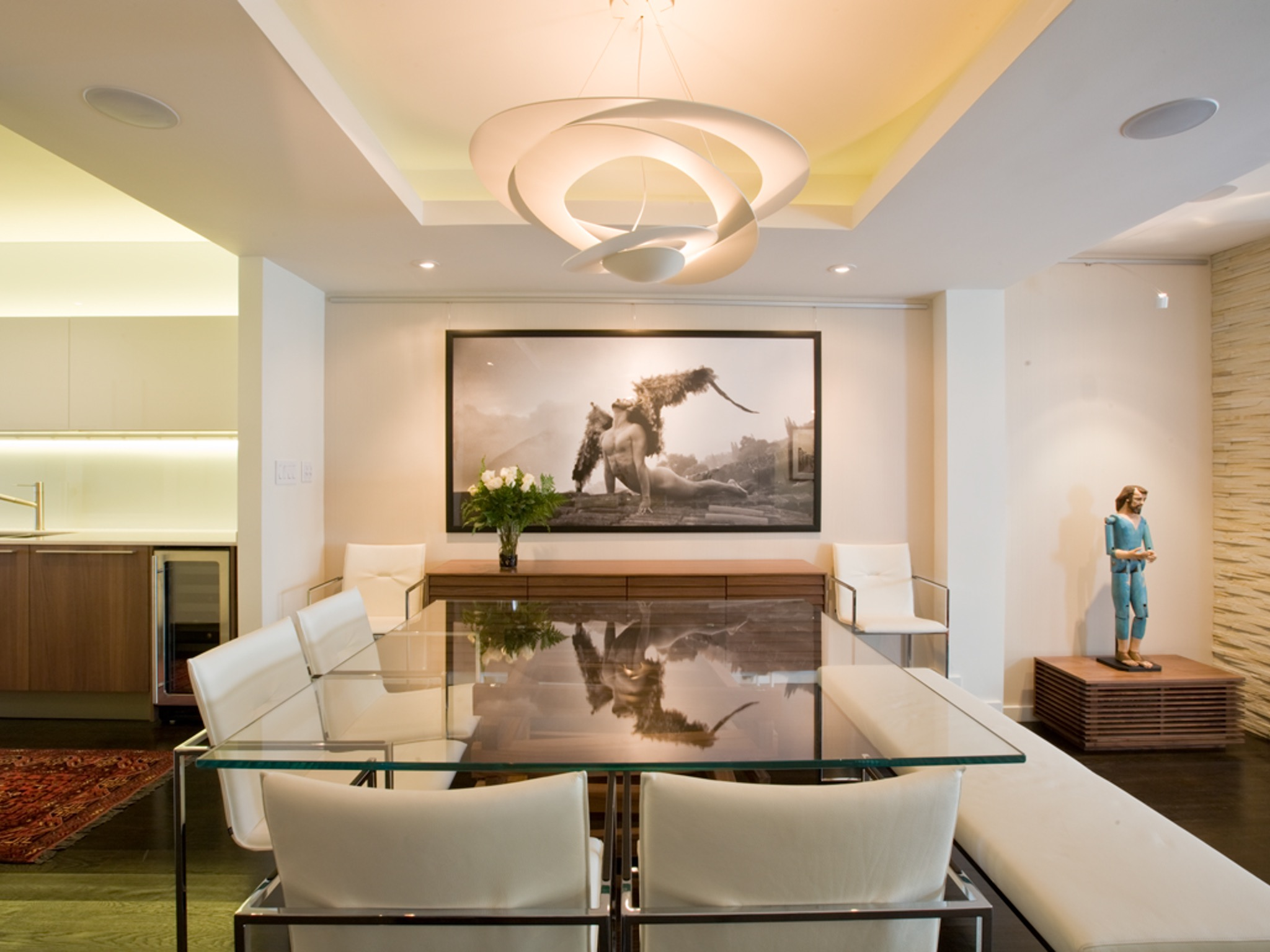 Modern White Dining Room Elegant Furnishing (Image 25 of 30)