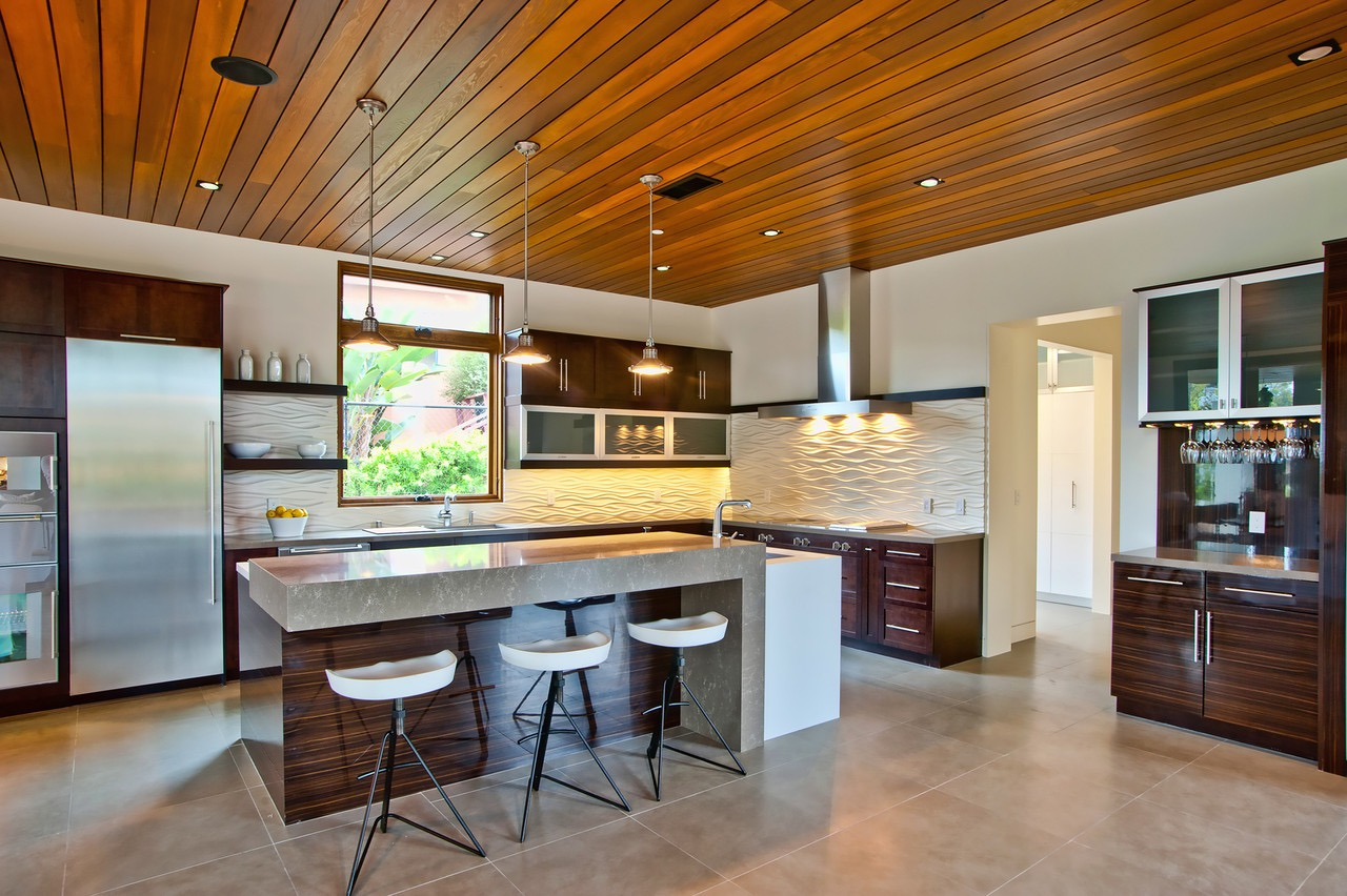 Modern Wood Paneled Ceiling Warms Contemporary Kitchen (View 31 of 31)