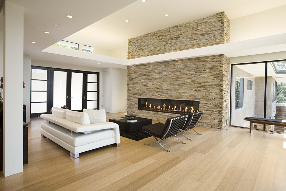 Modern Living Room Idea With A Ribbon Fireplace, A Stone Fireplace Surround And Bamboo Floors (Image 17 of 20)