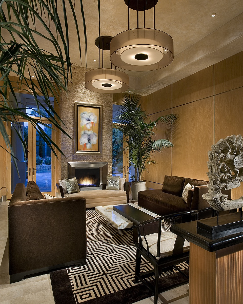 Modern Oriental Asian Living Room Features Luxe Brown Velvet Sofas (Image 8 of 20)