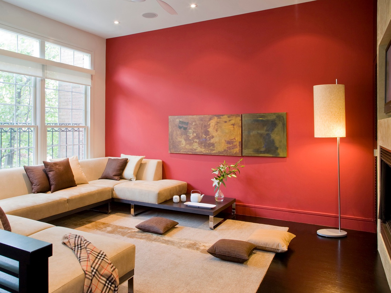 Modern Oriental Living Room With Beige Sectional And Red Wall (View 4 of 20)