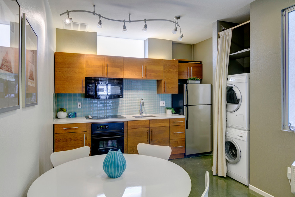 Modern Single Wall Kitchen And Laundry Combo (Image 11 of 15)