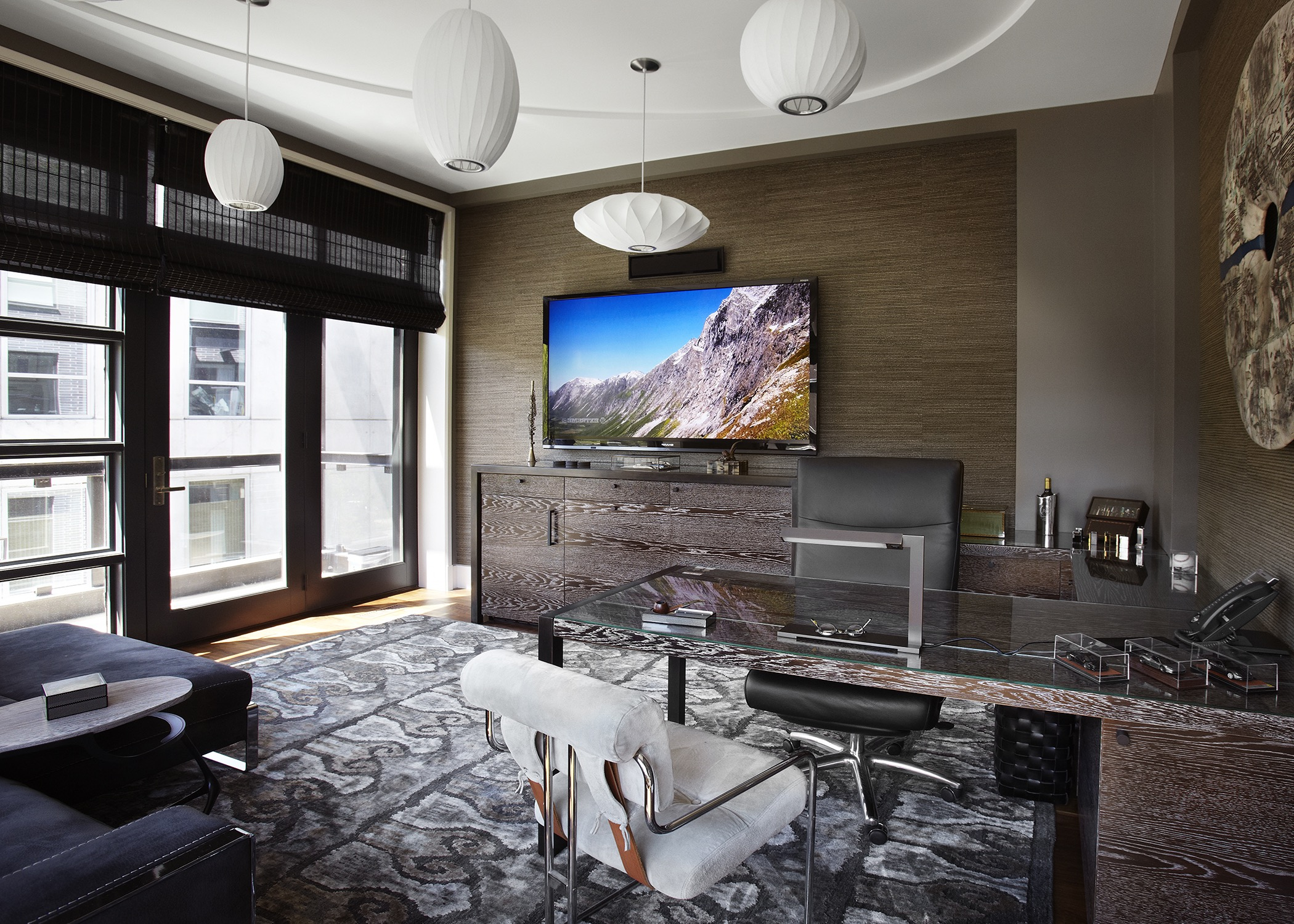 Neutral Contemporary Home Office With TV (Image 40 of 50)