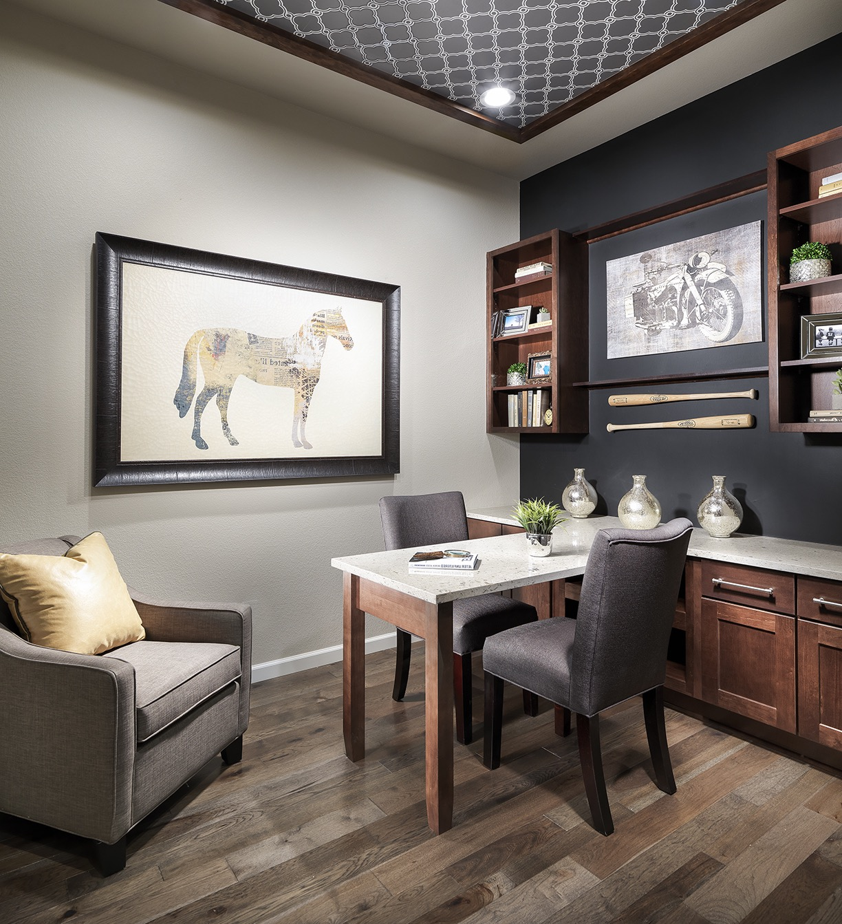 Neutral Transitional Home Office With Black Accent Wall (Image 13 of 17)