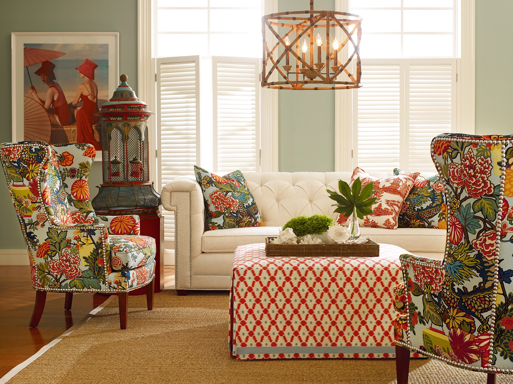 Oriental Living Room With Colorful Patterns And Tropical Accents (Image 15 of 20)