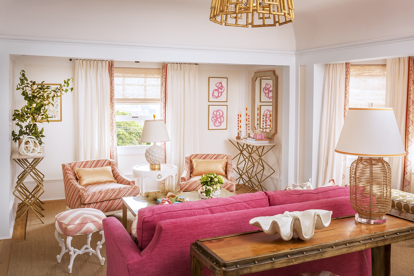 Pink Sofa, Striped Armchairs And Gold Embellishments For Chic Living Room (Image 20 of 25)