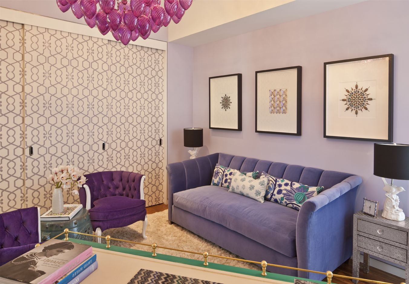 Purple Lavender Living Room Apartment Color Scheme With Velvety Sofa (Image 16 of 20)