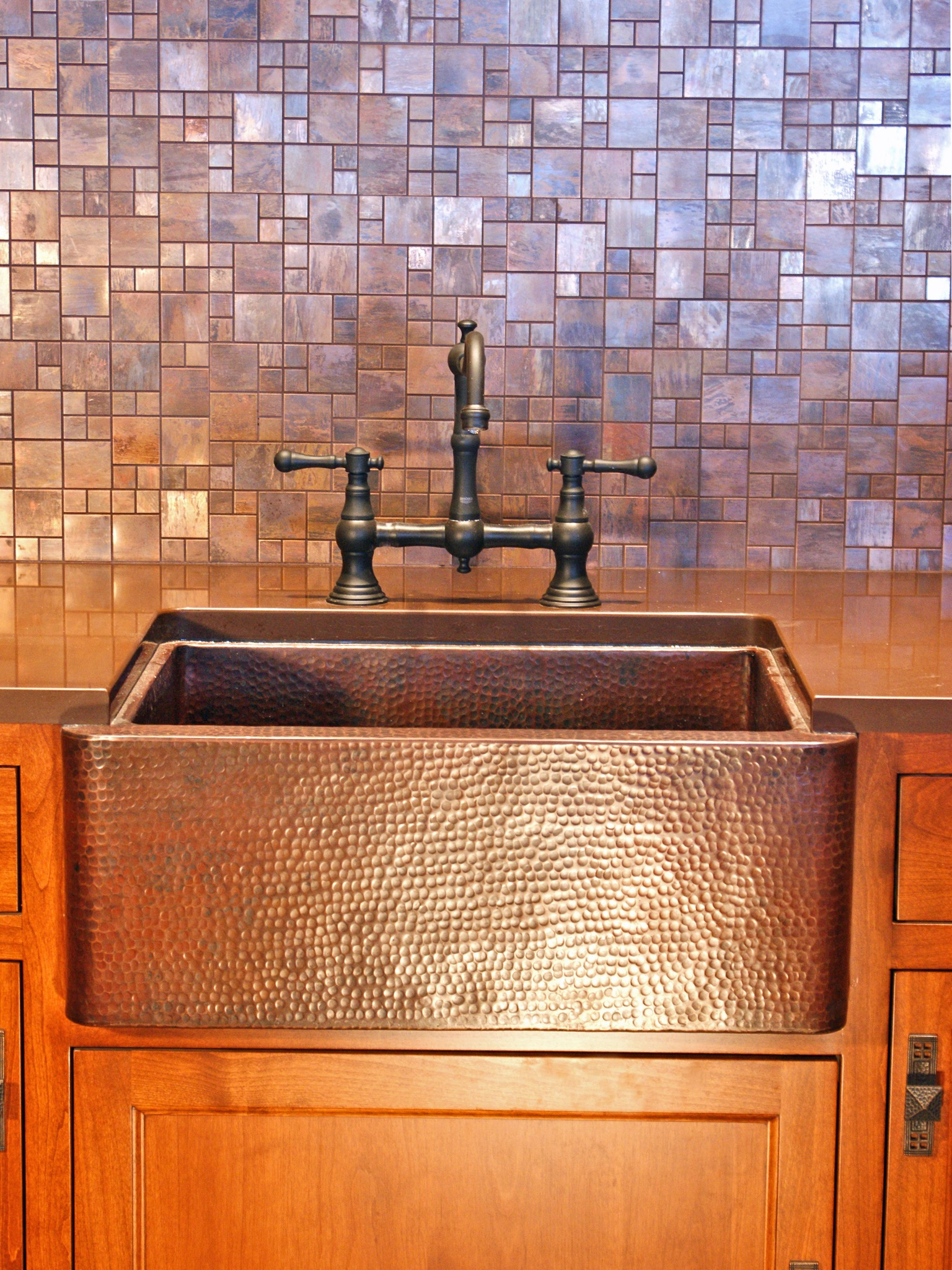 Rustic Copper Kitchen Sink And Tile Backsplash (Image 27 of 32)