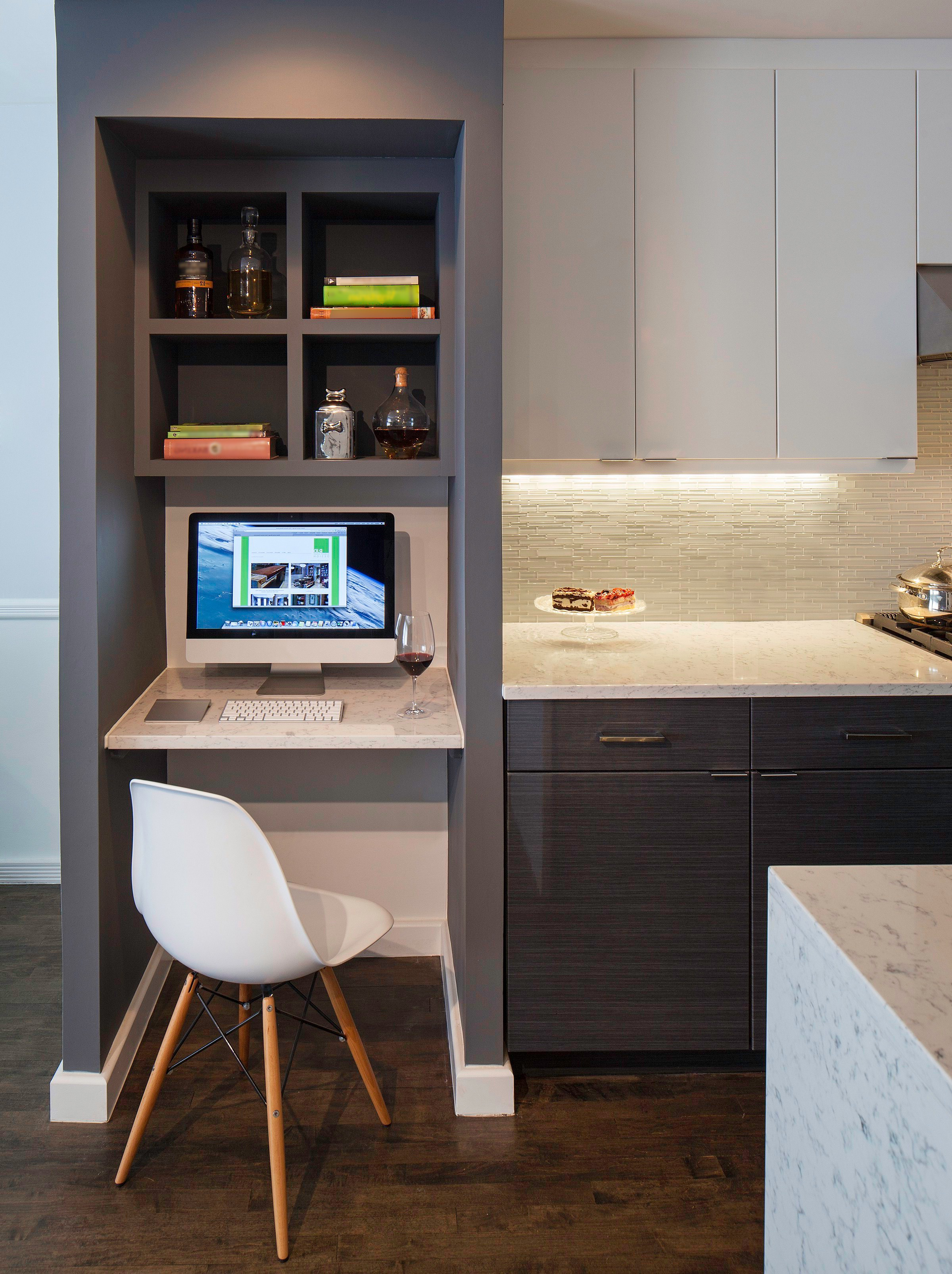 Sleek Modern Kitchen With Small Built In Desk (Image 15 of 17)